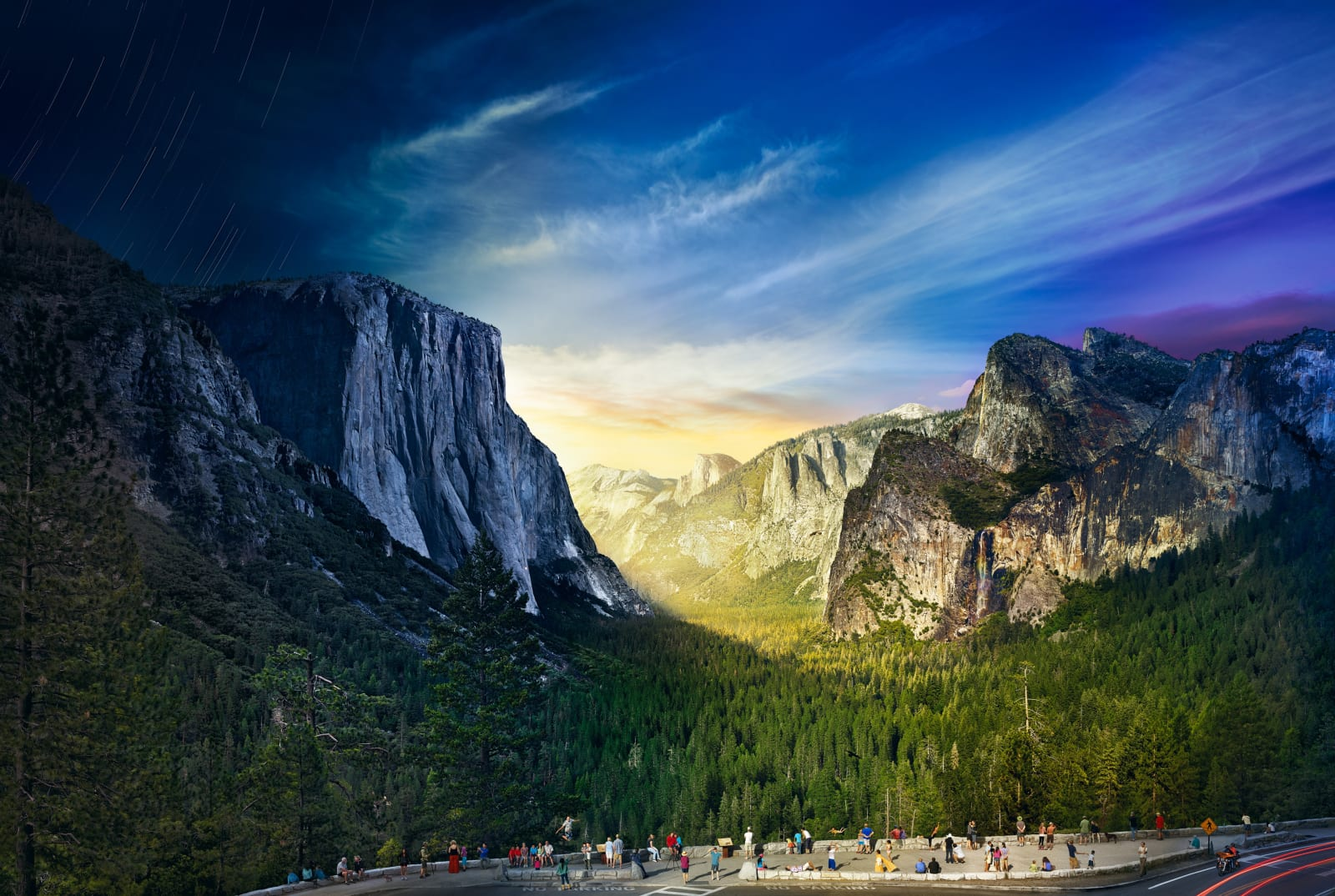 Stephen Wilkes Tunnel View, Yosemite National Park, Day to Night, 2014 Signed on label verso 24 x 36 inch archival pigment print Edition of 50 32 x 48 inch archival pigment print Edition of 20 48 x 72 inch archival pigment print Edition of 12 60 x 89 1/2 inch archival pigment print Edition of 4