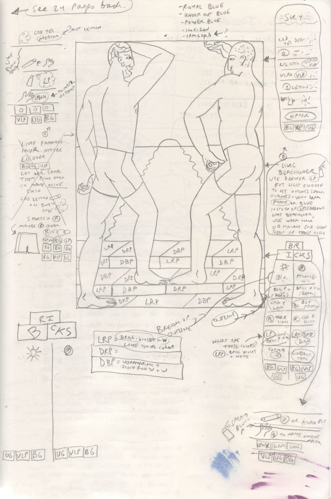 These working drawings function as blueprints. Degen uses them the same way that one would use shop drawings to build furniture or fabricate objects.