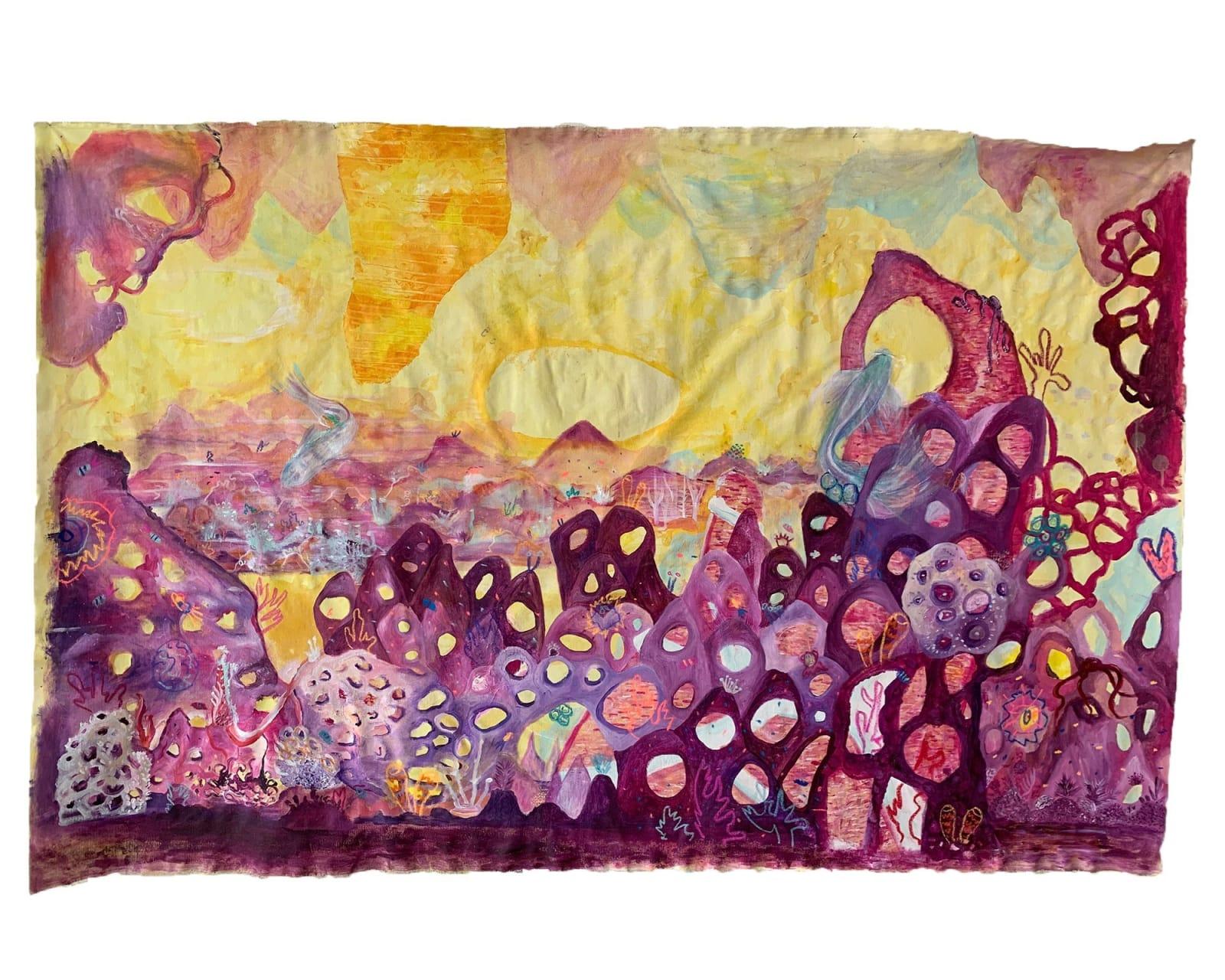 Beatriz Chachamovits & Khotan Fernandez. Dyadic Dynamics, 2020. Acrylic and pastel on canvas. 52 x 79 in,