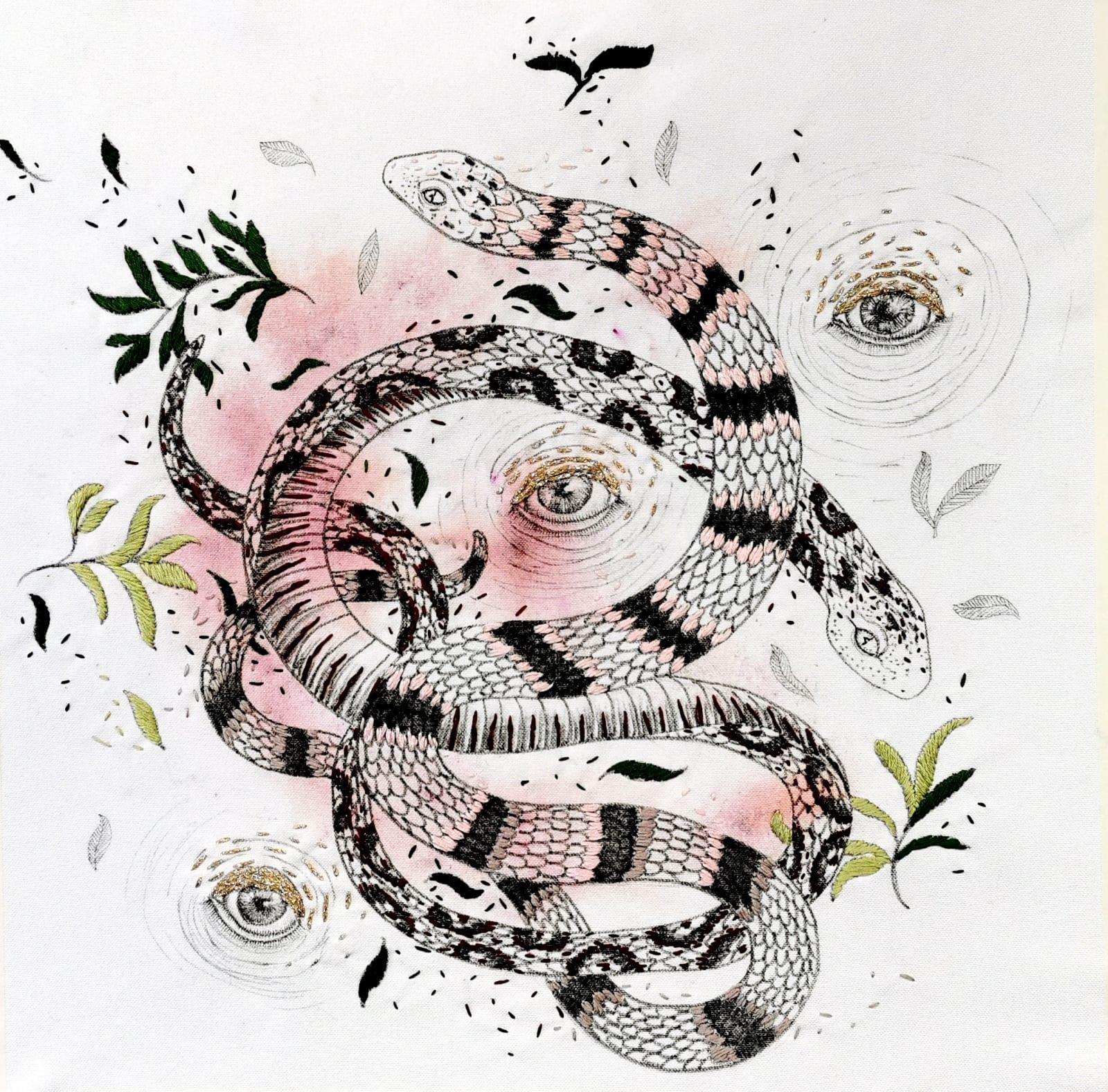 Giulia Ronchetti. Mother Snake, 2020. Acrylic, watercolor, liquid ink, graphite, cotton thread on fabric. 19.6 x 19.6in.