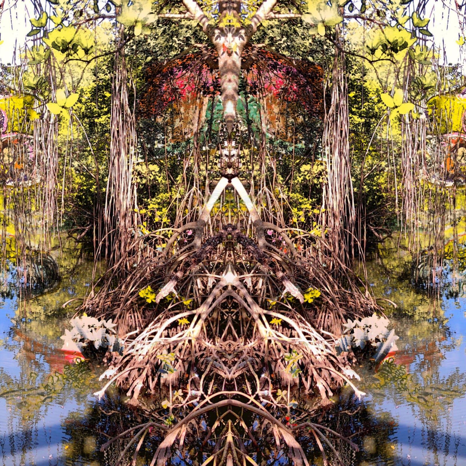 Khotan Fernandez. Enchanted Forest 7, 2019. Acrylic, Matte Medium, Inkjet on Canvas Mounted on Framed Wood Panel. 12 x12 inches