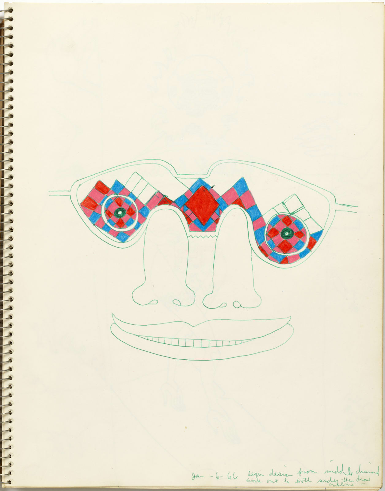 Untitled, January 6, 1966, colored pencil and ball-point pen on sketchbook, 14 x 11 inches