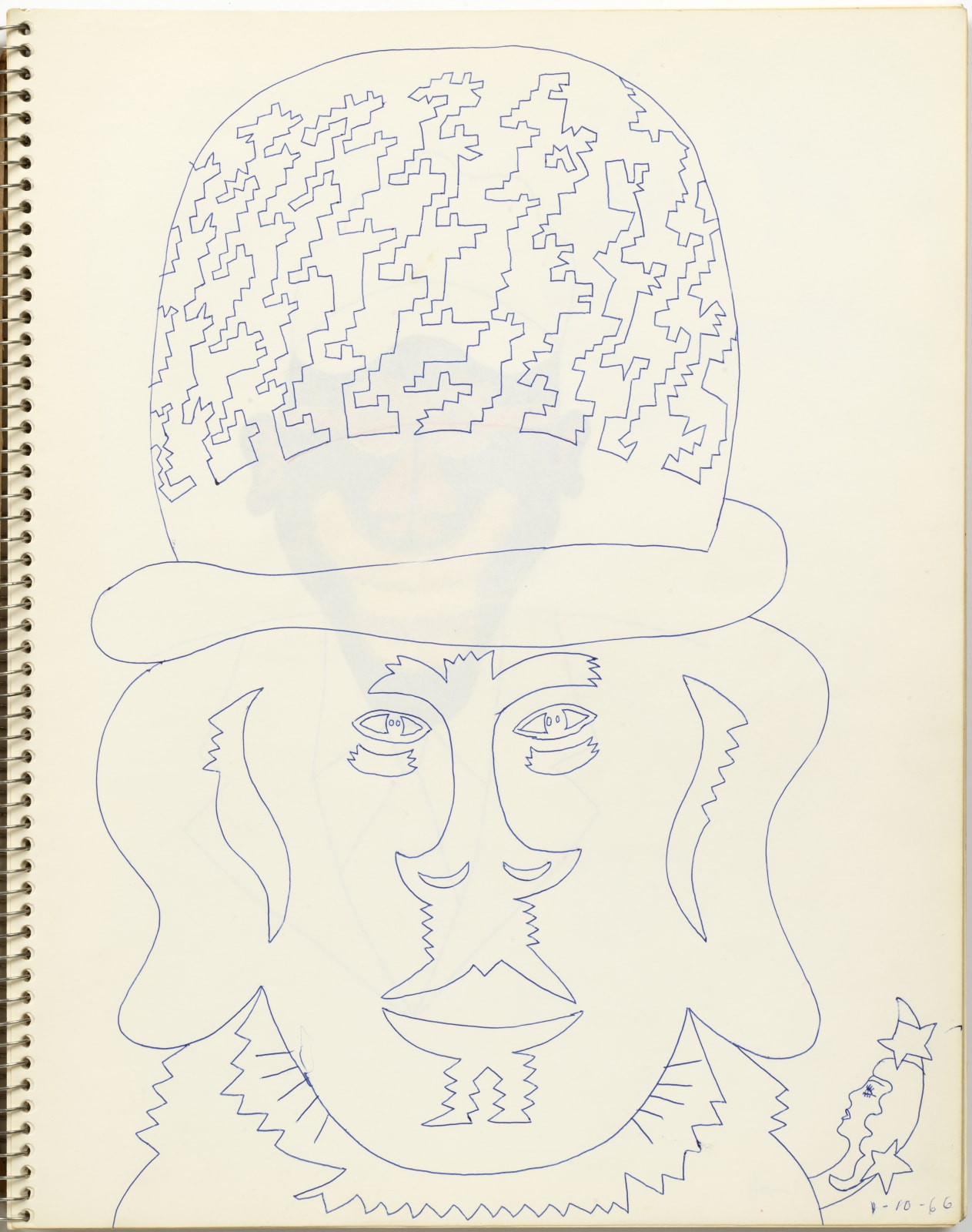 Untitled, January 10, 1966, ball-point pen on sketchbook paper, 14 x 11 inches