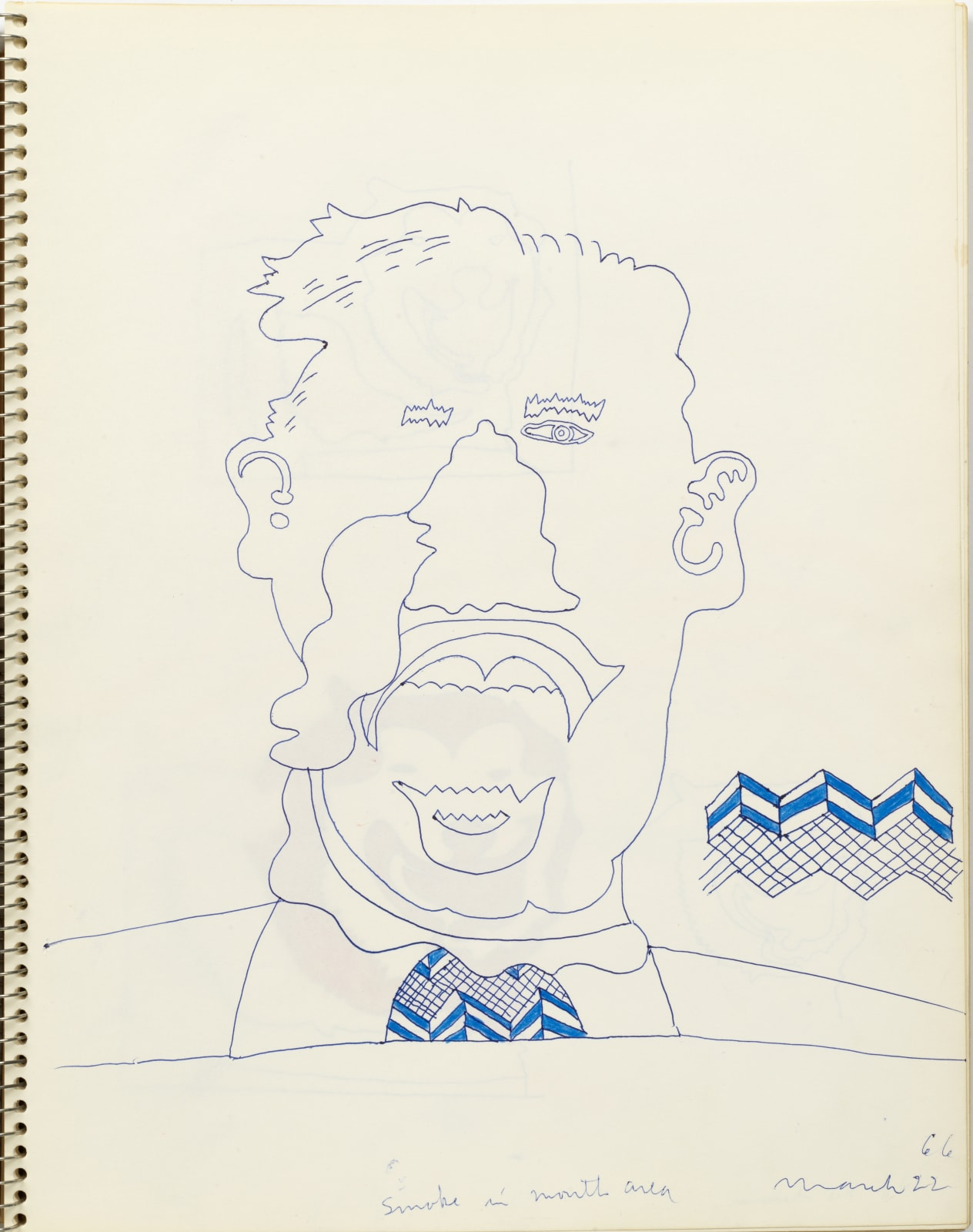 Untitled, March 22, 1966, colored pencil and ball-point pen on sketchbook paper, 14 x 11 inches