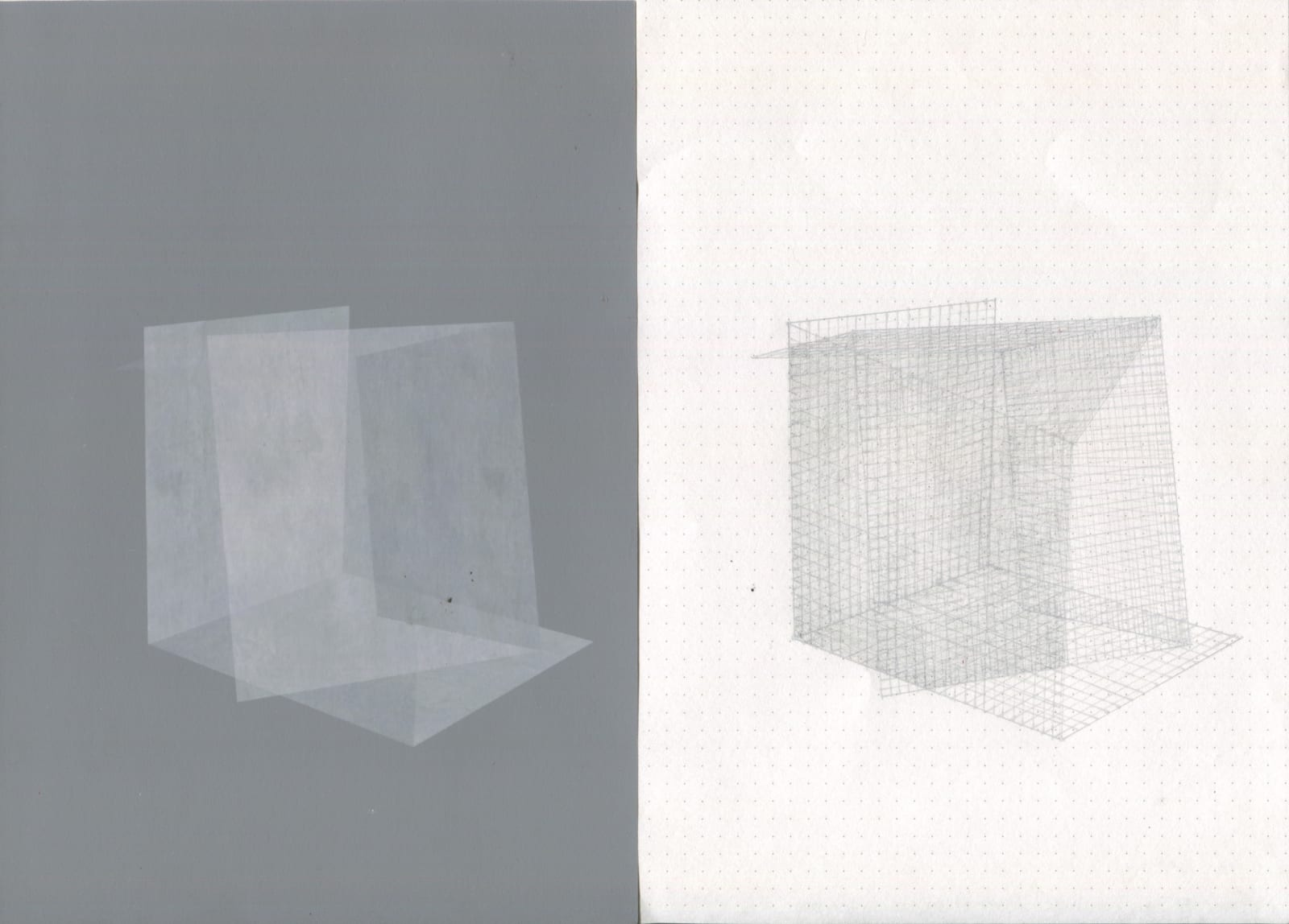 TEJA GAVANKAR Conjunctions - 1, 2020   Series of 10 drawings   Graphite and digital print on paper   11.5 x 8.3 in