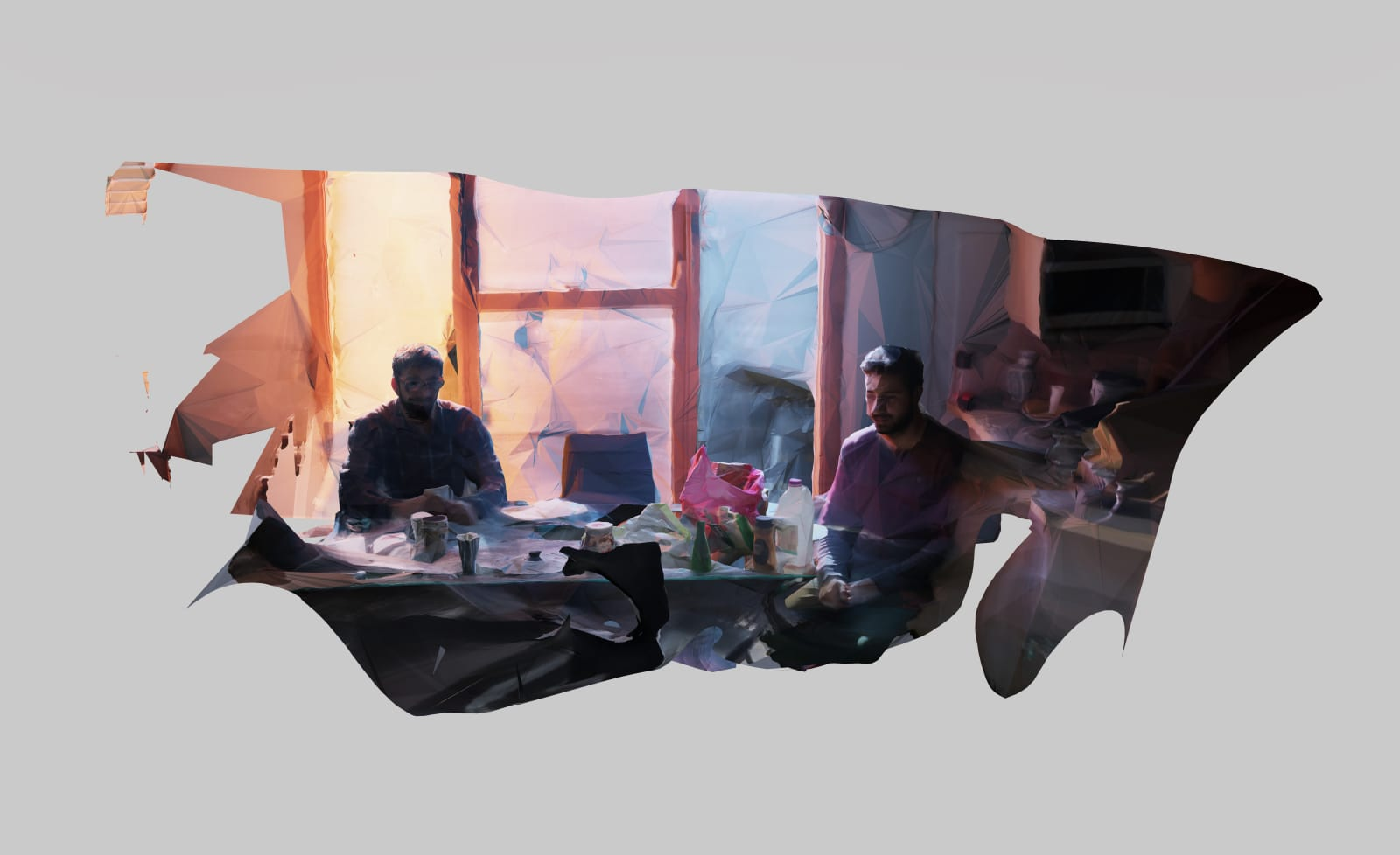 MOONIS AHMAD SHAH Accidentally Miraculous Everyday From That Heaven (Tutors having an extended breakfast on a Wednesday), 2018 Archival prints on archival Epson paper 36 x 60 in. 2 editions ₹ 50,000.00