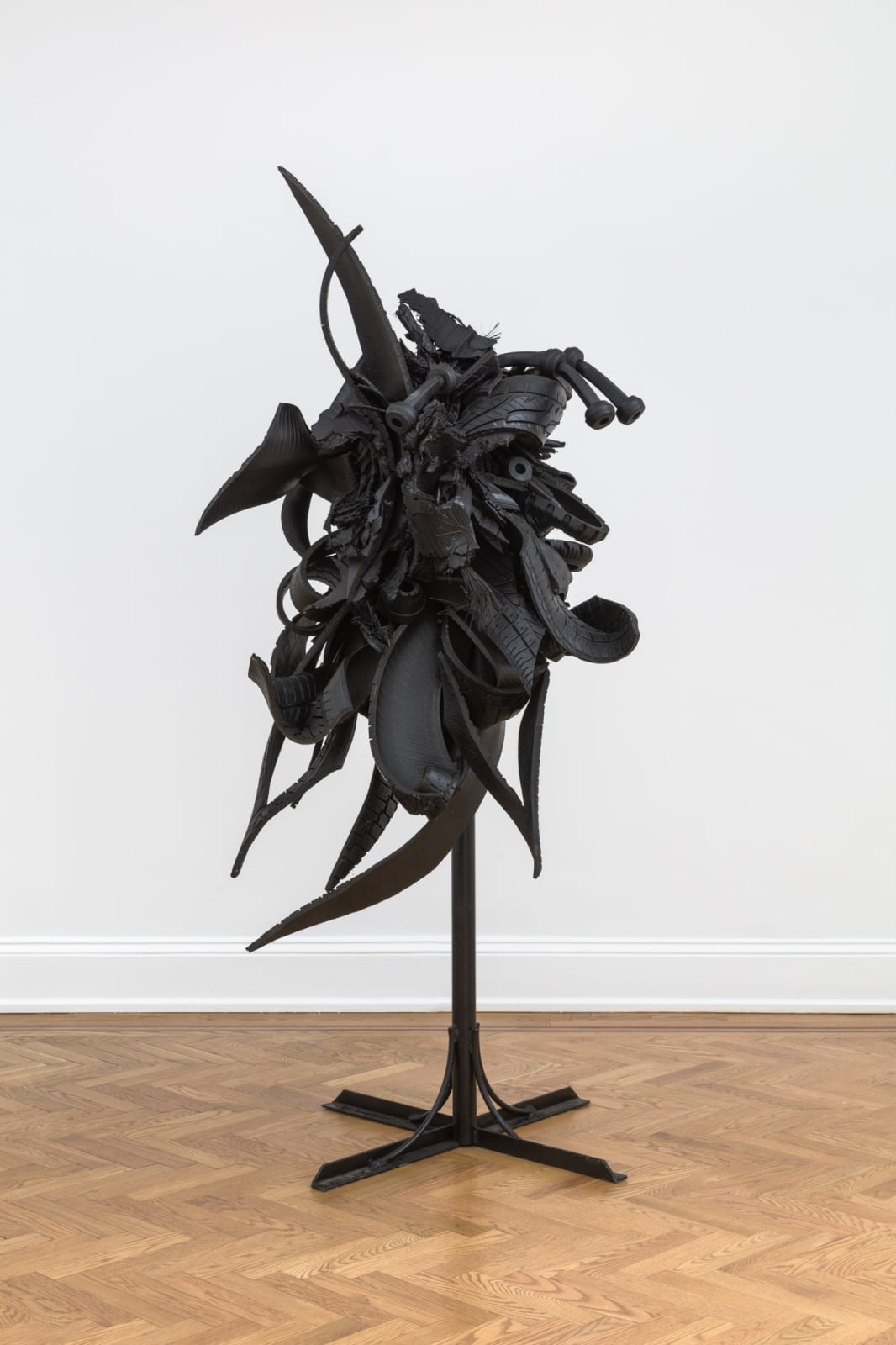 Chakaia Booker (b. 1953) Splintered Reality, 2003 rubber tires and wood 45 1/2 x 42 x 37 1/2 in (115.6 x 106.7 x 95.3 cm) (CHB7787)