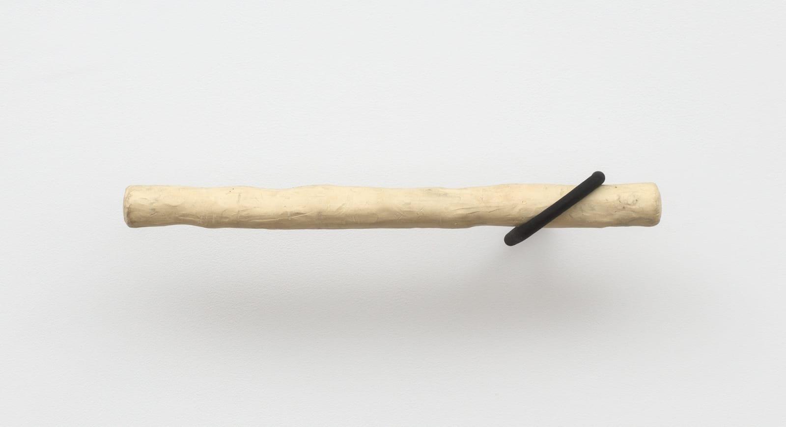 Gabriela Salazar (b. 1981) Hook Crook #12 (Gave Good Conspiracy), 2017 Wood, paper pulp, plasticine, found hook (steel and rubber) 19 3/4 x 3 1/2 x 7 in (50.2 x 8.9 x 17.8 cm) (GS7835)