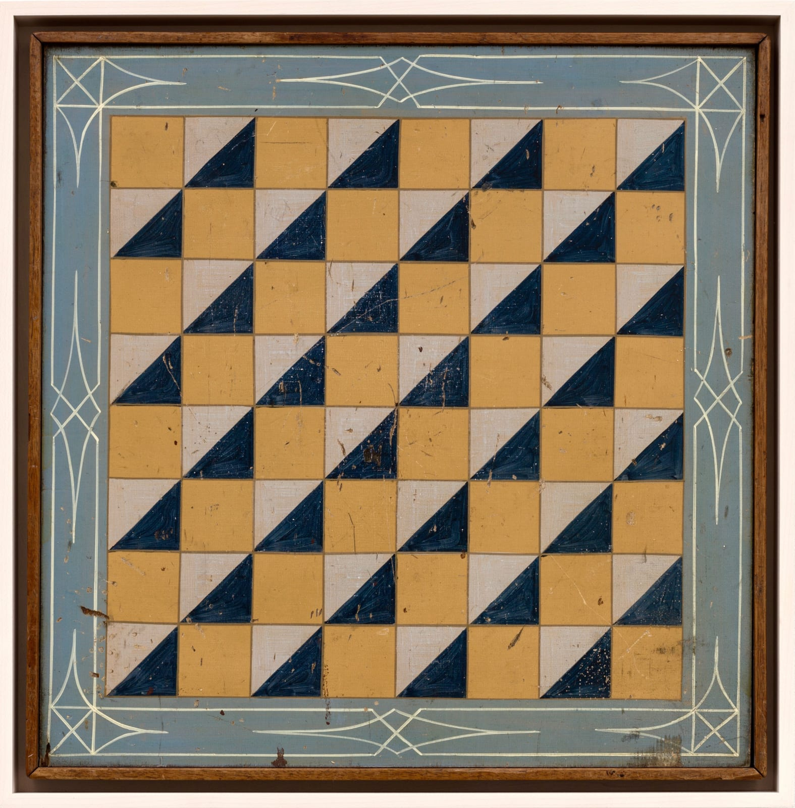 5-COLOR CHECKERS GAME BOARD WITH BLUE AND GREY BORDER, LATE 19TH CENTURY Enamel on wood 18 x 18 in 45.7 x 45.7 cm (AU 252)