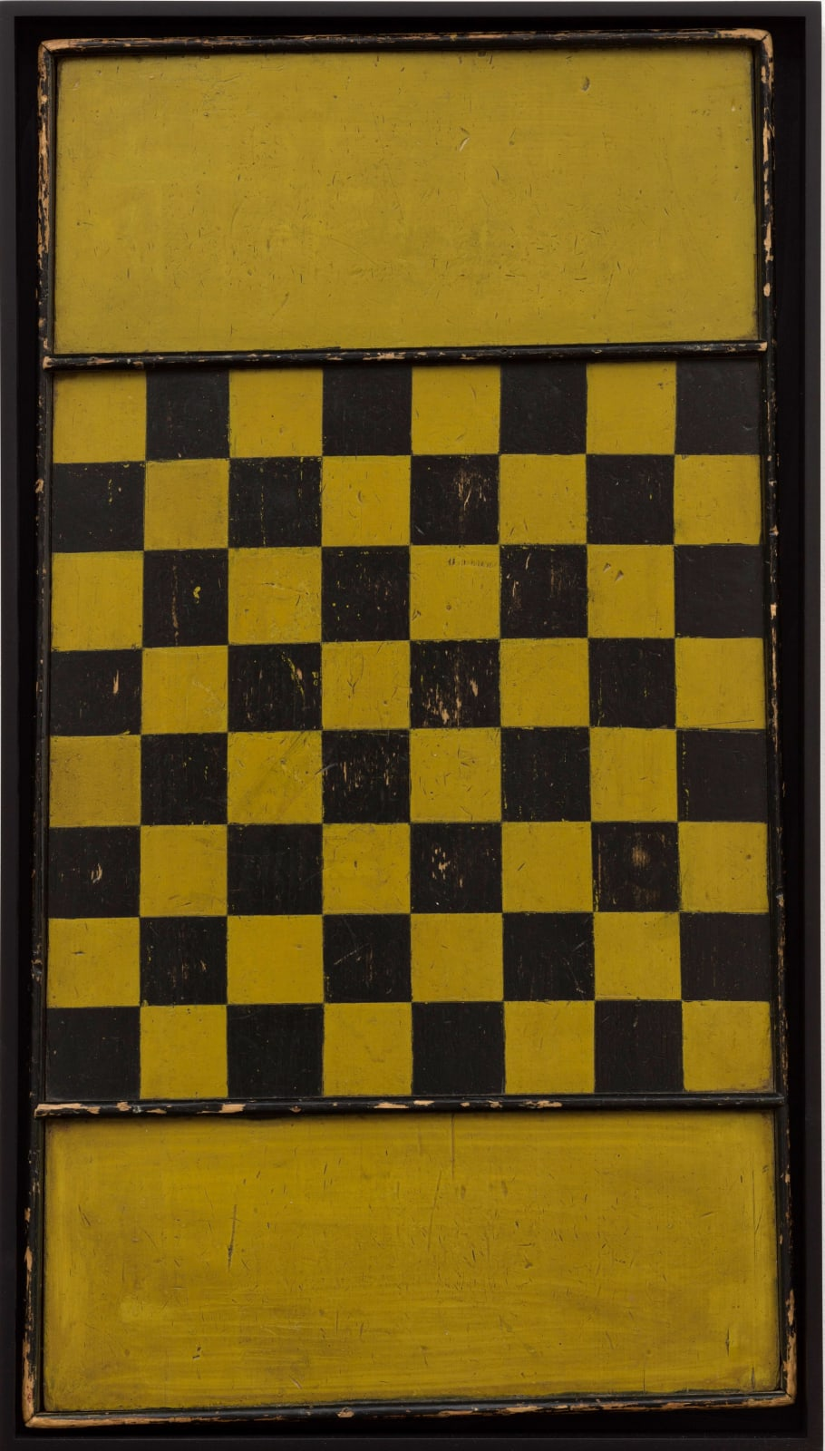 YELLOW AND BLACK CHECKERS GAME BOARD, LATE 19TH CENTURY Oil enamel on wood panel 31 x 17 in. 78.7 x 43.2 cm. (AU 254)