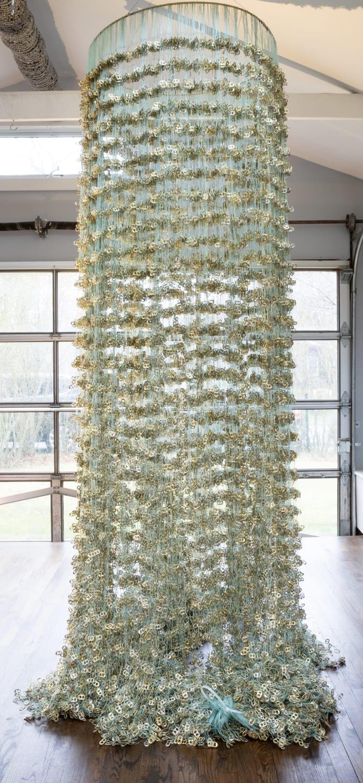 Alice Hope K Corona, 2021 Corona tabs on fishing net 36 x 108 in. (AHo 39) $27,000