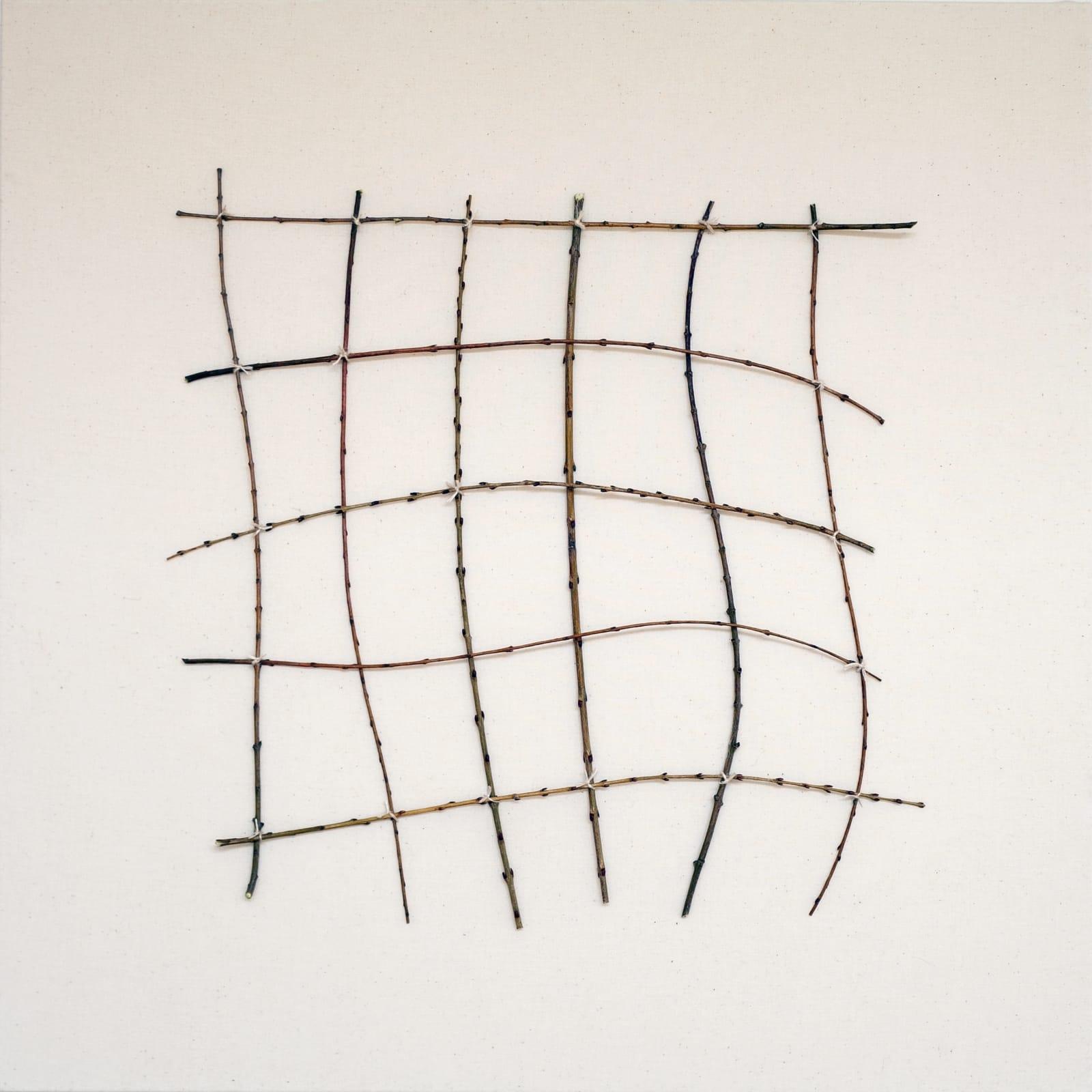 Bastienne Schmidt Wavering Grid, 2021 Cotton duck fabric with Nijiki sticks and thread. 24 x 24 in. (BS 302) $6,000
