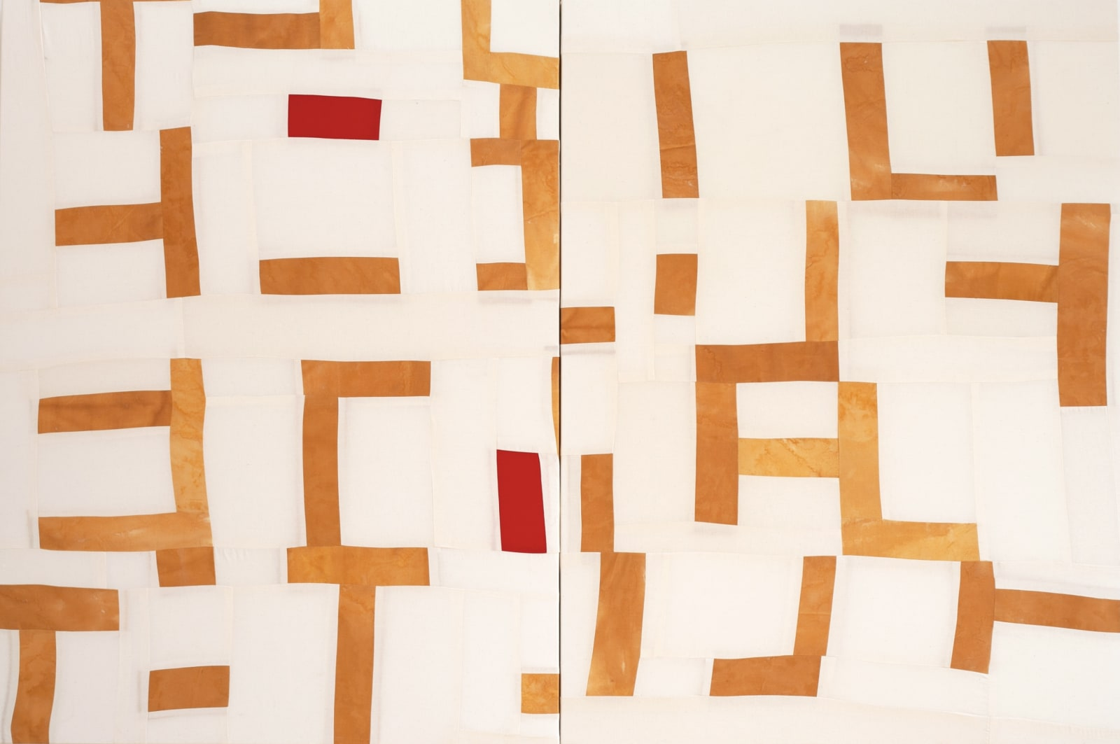 Bastienne Schmidt Grid Breaking Open, 2021 Sewn muslin fabric pigmented and tinted 48 x72 in. (BS 303) $17,000