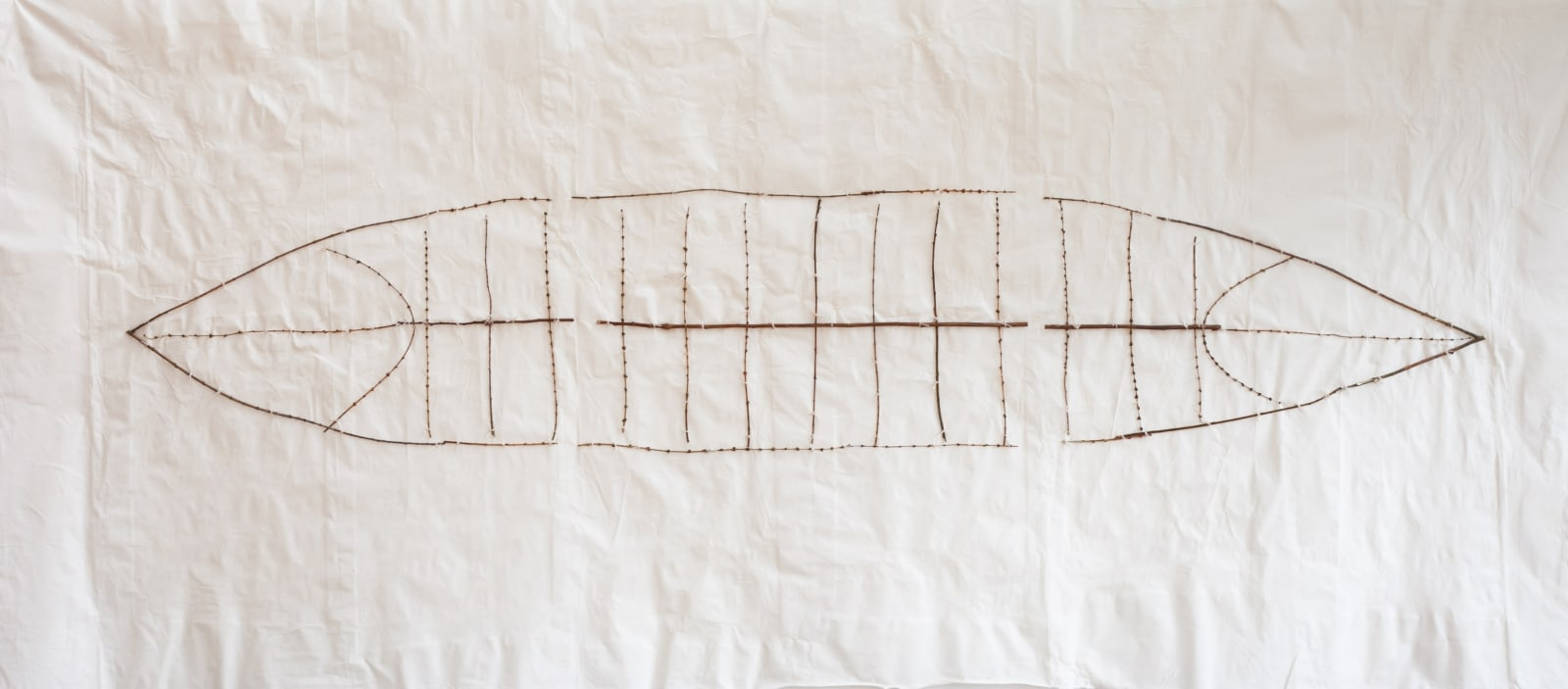 Bastienne Schmidt Canoe Grid, 2021 Sewn muslin fabric pigmented and tinted 45 x1 03 in. (BS 304) $17,000