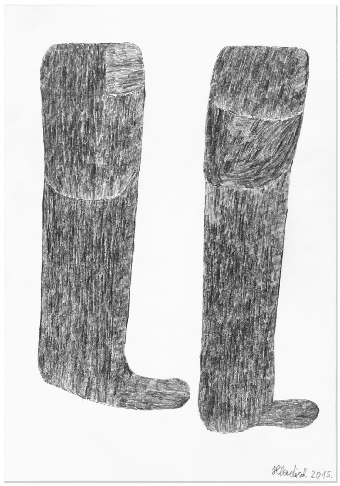 MOON BOOTS, 2015 Graphite on paper 16.5 x 11.7 in. (41.9 x 29.6 cm) HH 20 $3,400