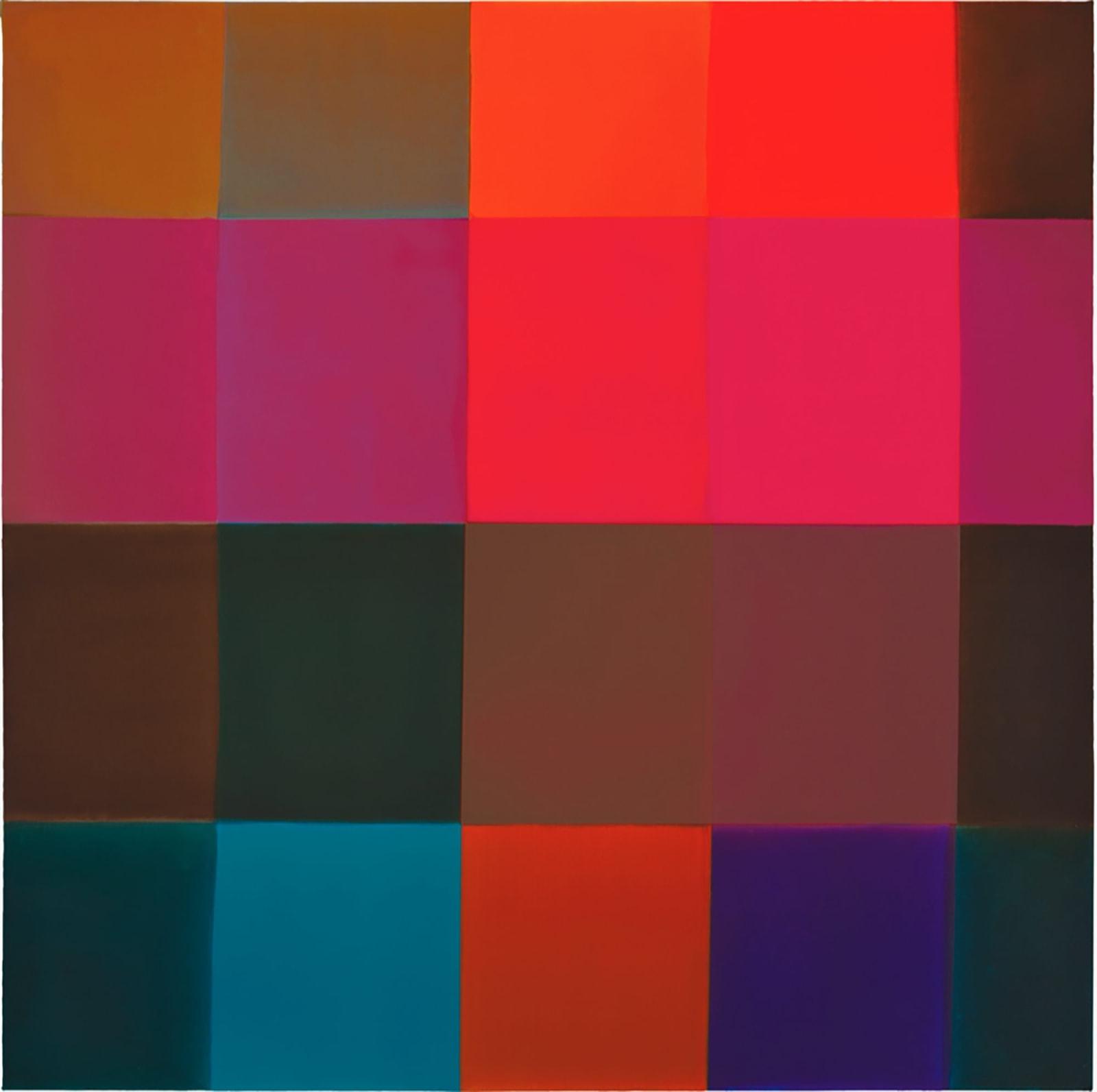 PINKORANGEBLUEBROWN, 2017 Acrylic on canvas mounted on wood panel 36 x 36 in 91.4 x 91.4 cm HS 51