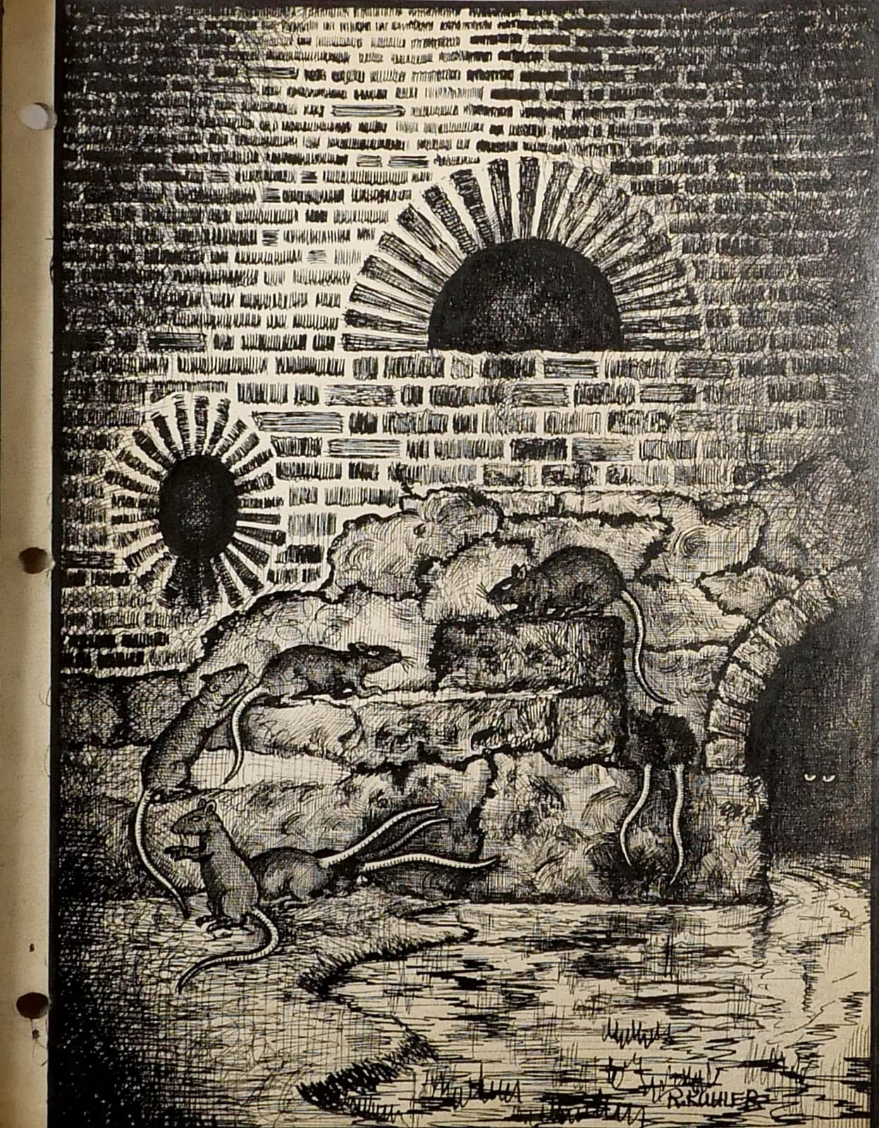 Sewer rats on brick wall ca. 1950 Black ink on sketch paper 11 x 8 1/2 in (RK 113) $7,000