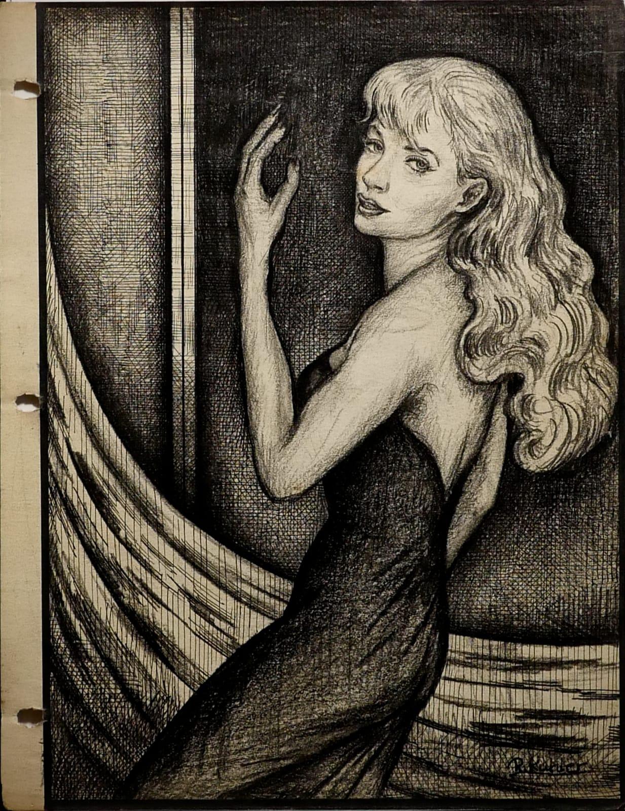 Rebecca de Rochelle Stierenholm, 1955 Ink, pencil on sketch paper 11 x 8 1/2 in (RK 116) $7,000