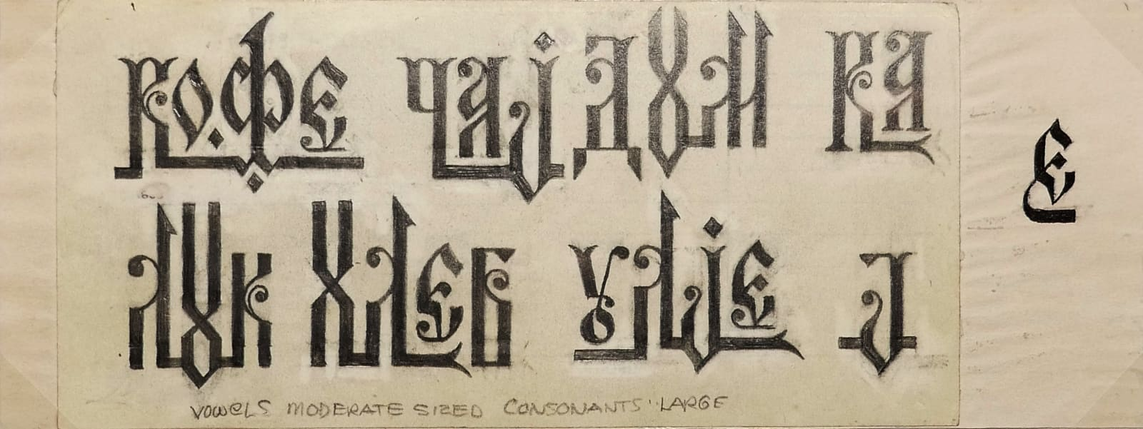 Vowels moderate sized, consonants large (calligraphy) 1970s Ink, pencil on sketch paper 3 1/2 x 9 in (RK 117) $2,000
