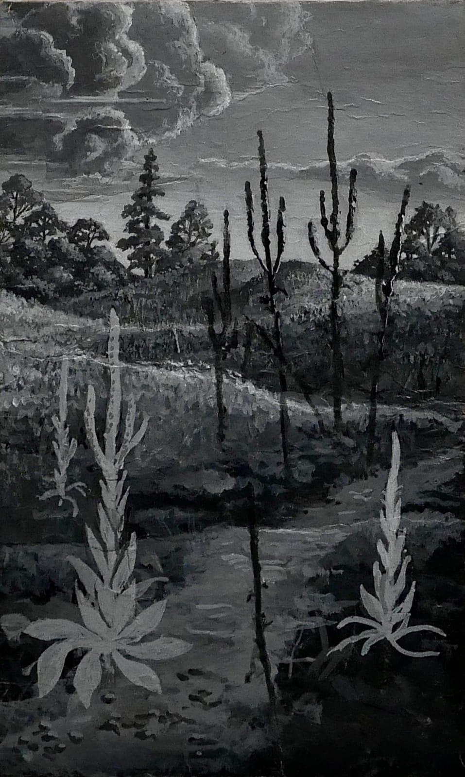 Trail through hilltop Mullein grove 1970s Gouache on paper 6 1/2 x 4 in. (RK 69) $5,000
