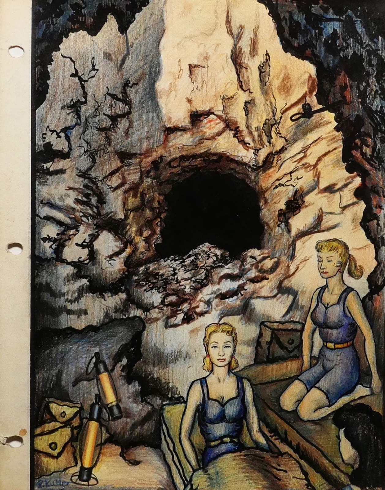 Arlene Dalherson & Lisa Smörgesholm camping in abandoned mine, 1960 Colored pencil on sketch paper 11 x 8 1/2 in. (RK 25) $7,000