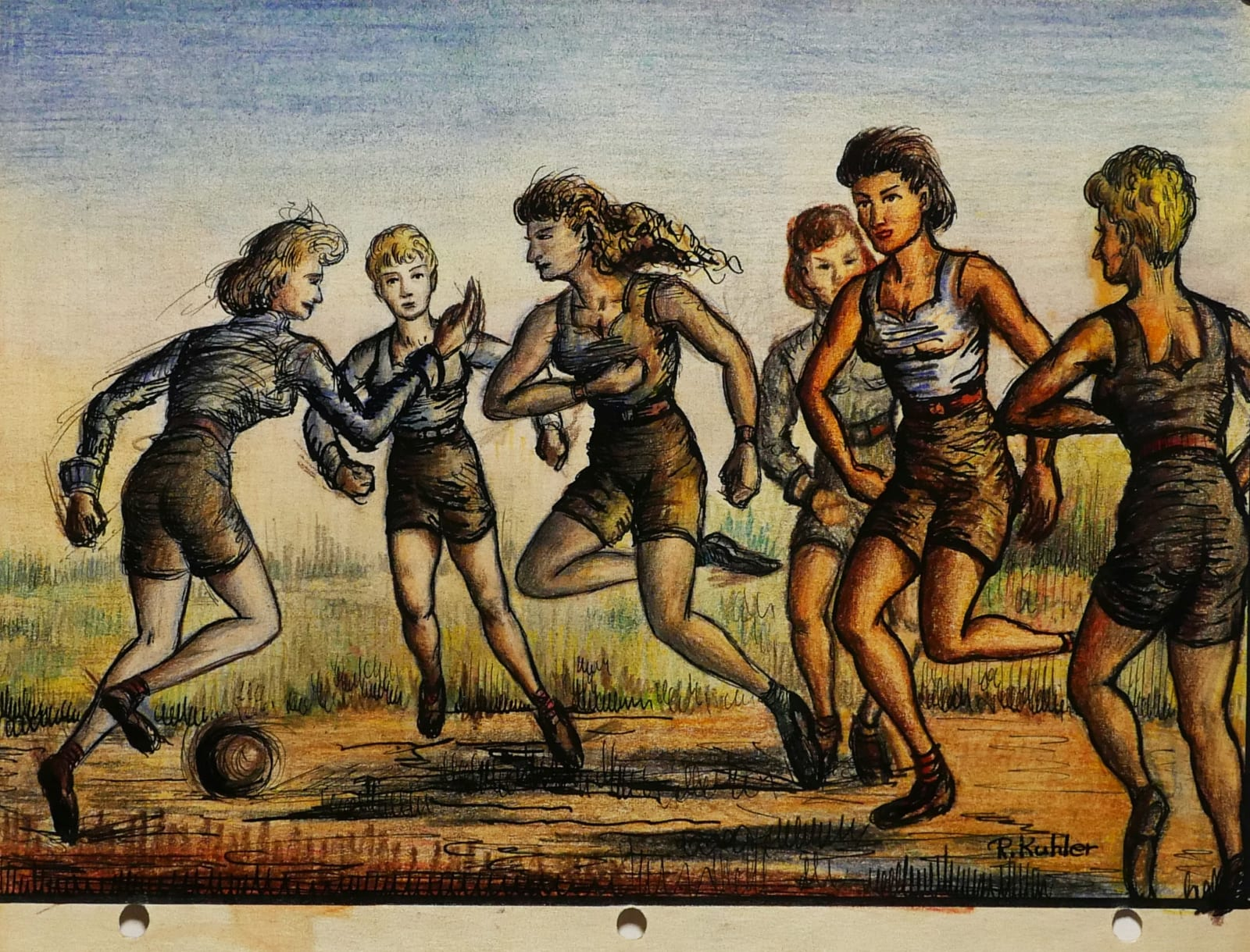 Girls playing fütbol, 1959 Colored pencil on sketch paper 8 1/2 x 11 in. (RK 132) $7,000