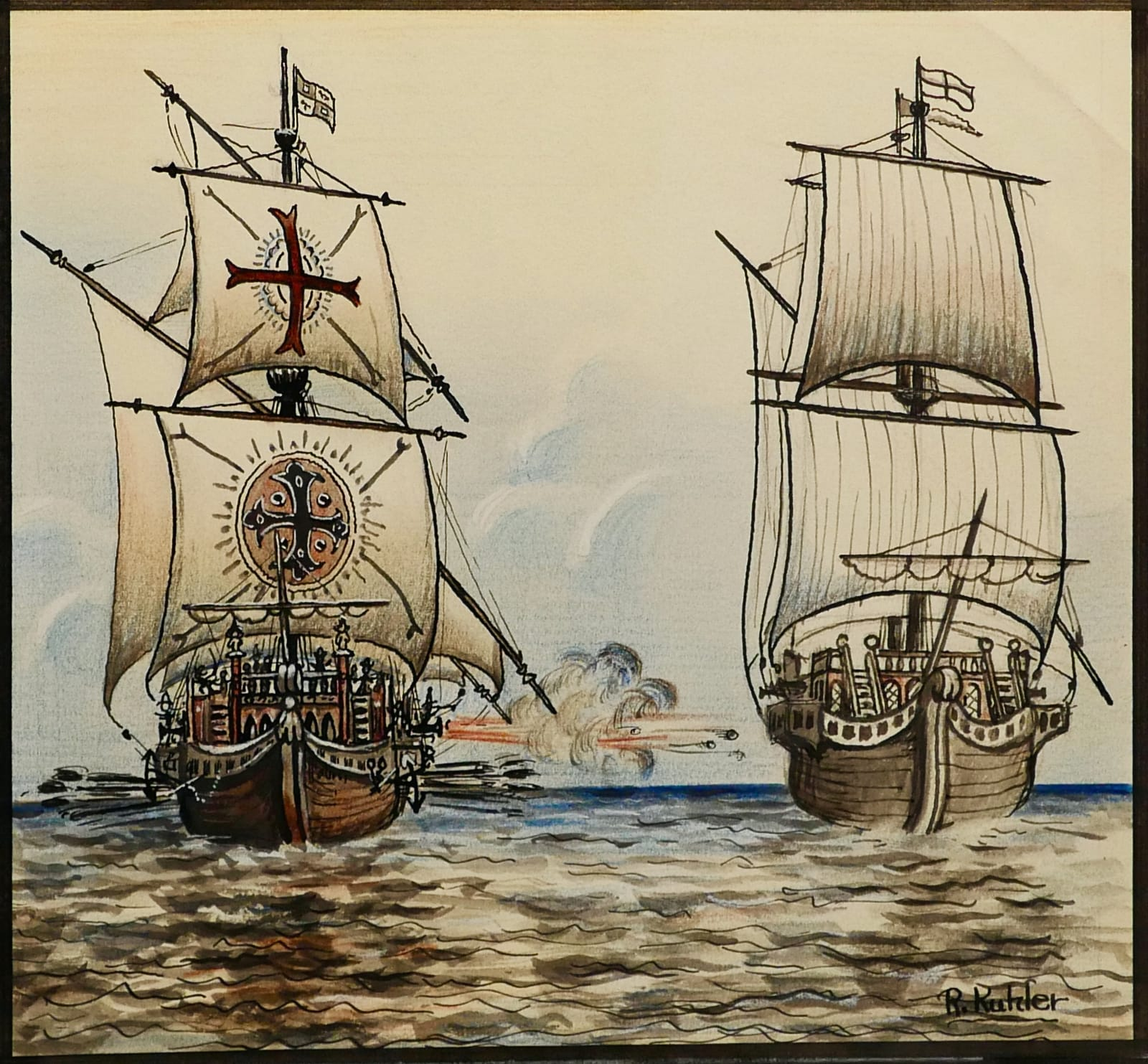Spanish galley ship firing on the Albatross ca. 1950s Ink, colored pencil, and gouache on heavy sketch paper 6 3/4 x 7 1/4 in. (RK 134) $6,500