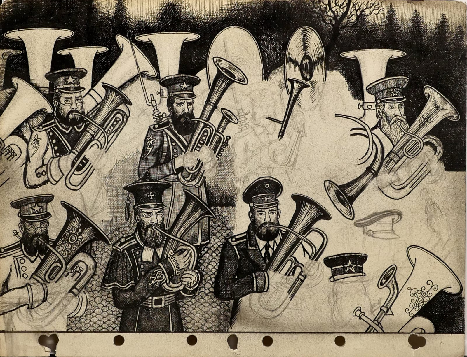 At Ostenwelt: Federal Socialists & Janissaries parading, 1958 Ink and pencil on sketch paper 8 1/2 x 11 in. (RK 136) $7,500