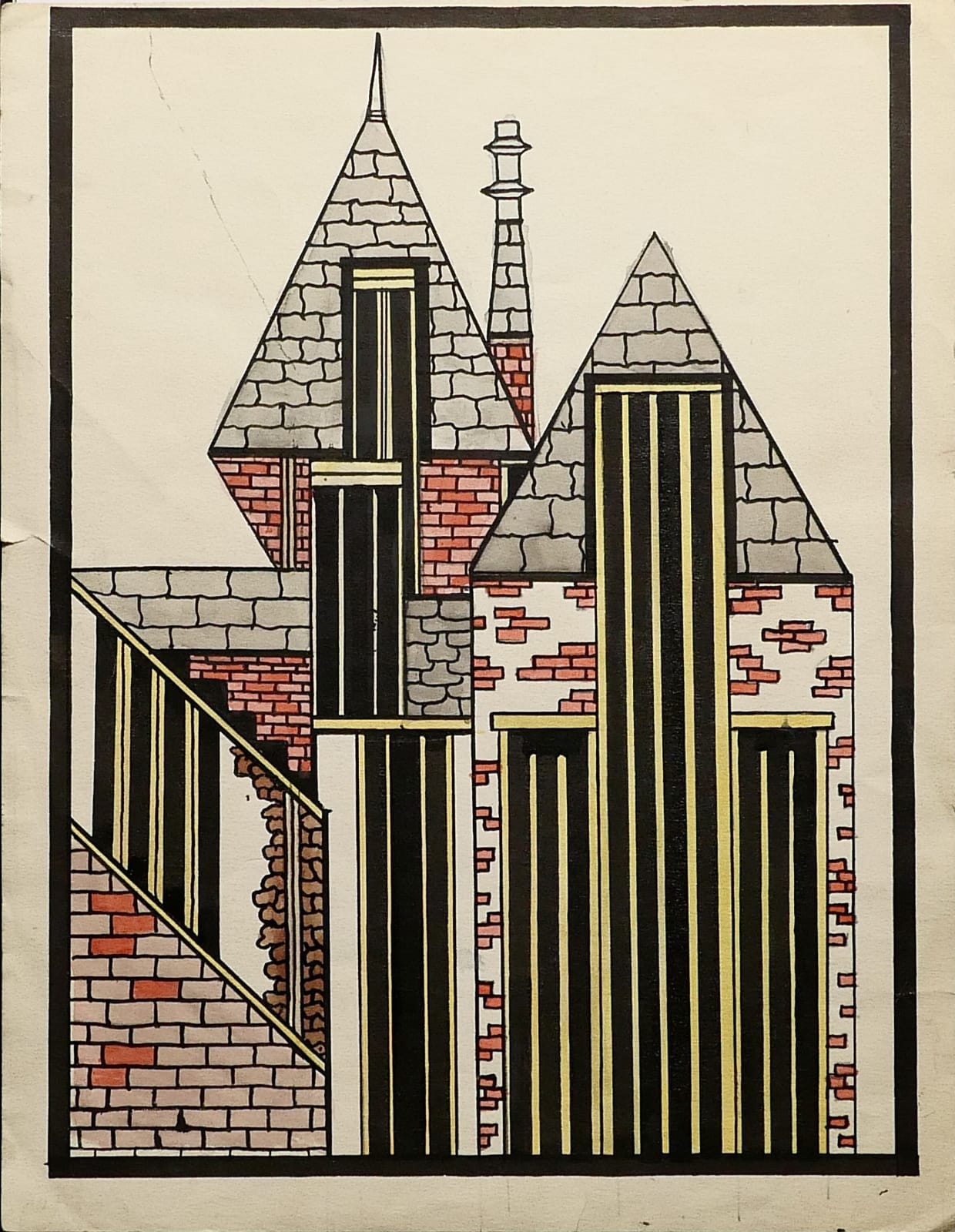 Abstract angular building with brick walls and slate roof tiles, 1960 Ink, pencil and gouache on sketch paper 11 1/2 x 8 3/4 in. (RK 140) $7,000