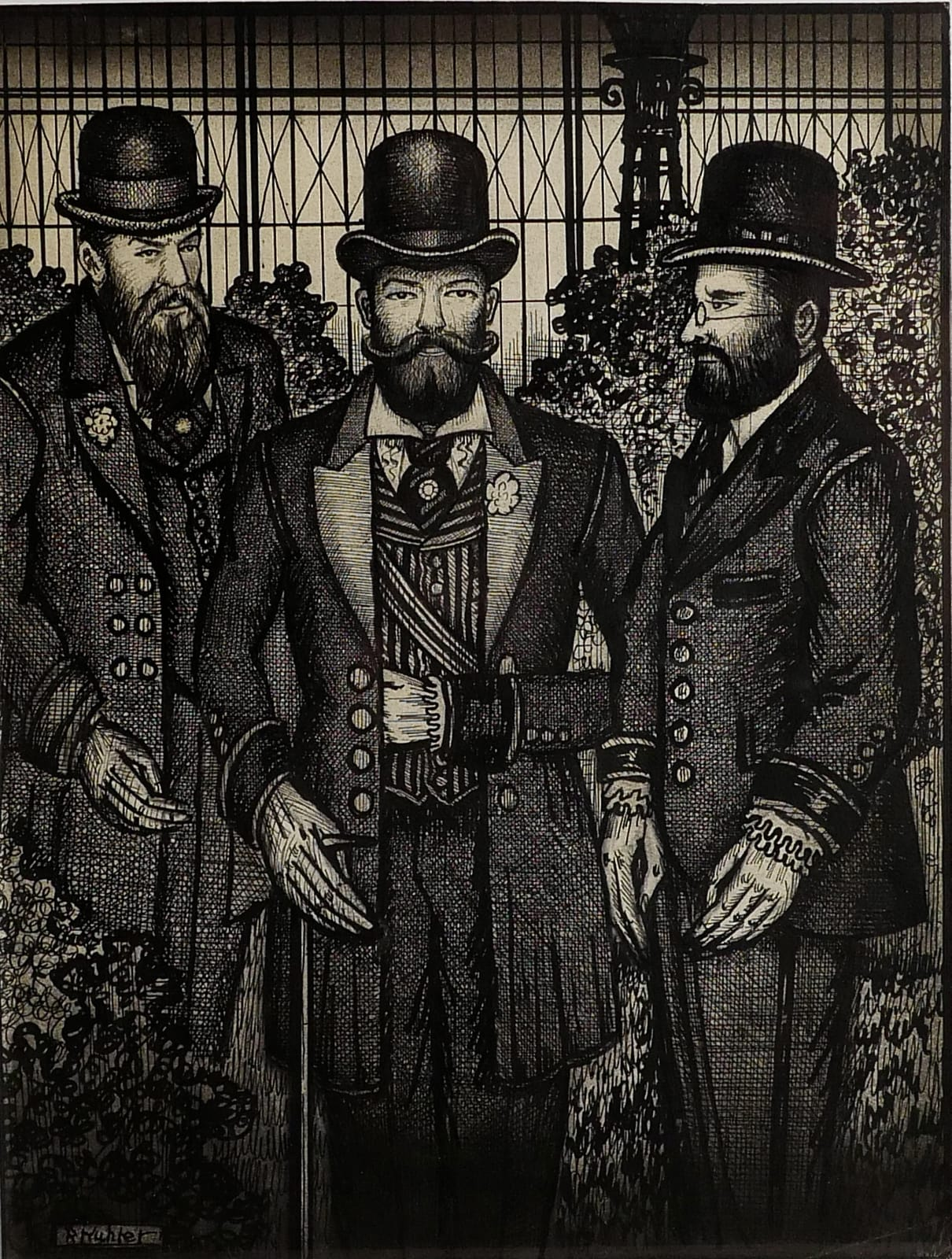 Josip Wepka, Nikolai Romanovski & Gorghendi Kahn at Crystal Gardens, 1959 Ink on sketch paper 11 1/2 x 8 3/4 in. (RK 102) $7,000 SOLD