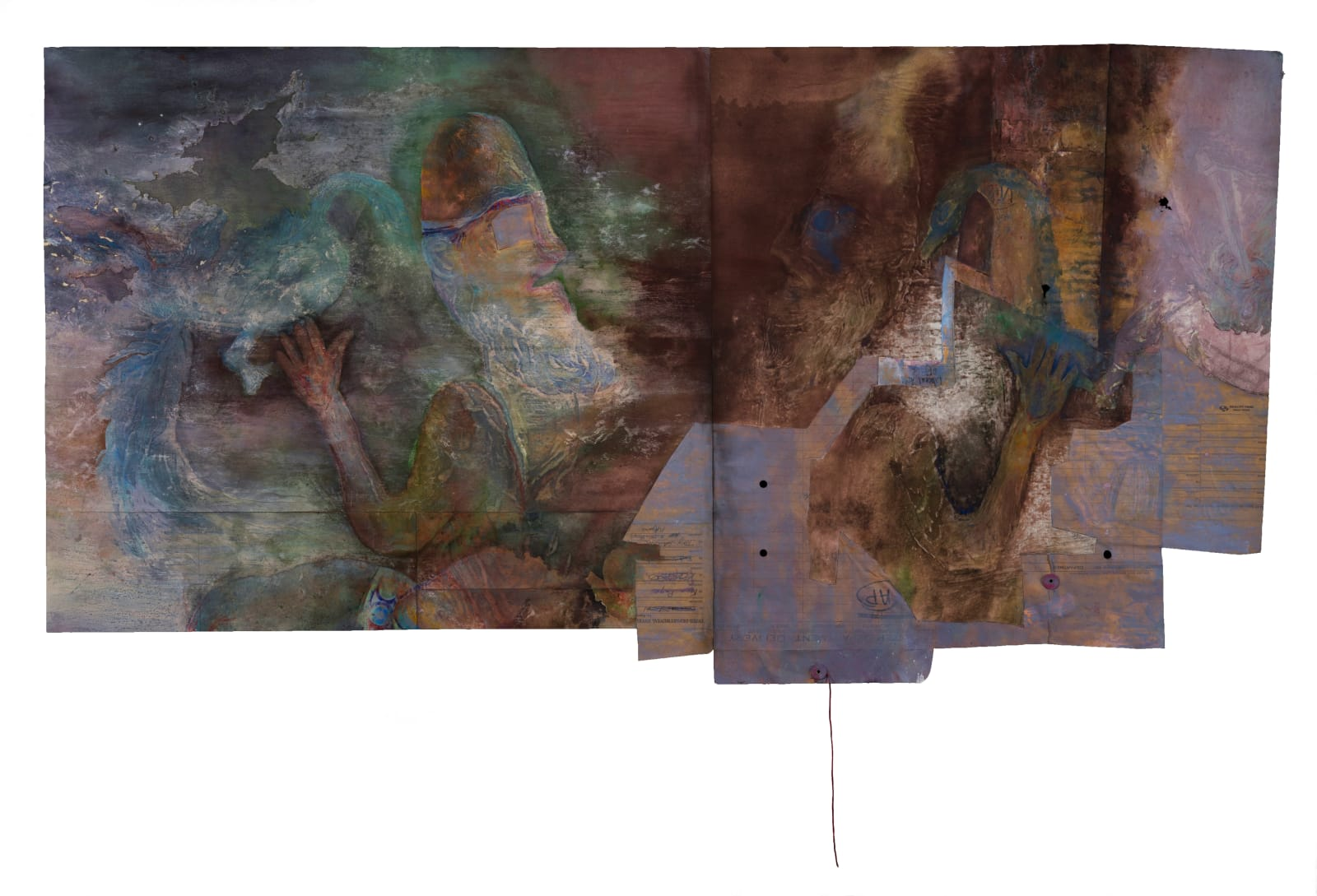 Liminatus Persici, 1991 – 2021 Watercolor, acrylic, oil, marker, charcoal, and woodcut on pieced paper. 27.25 x 53 in. (TM 35) $12,000
