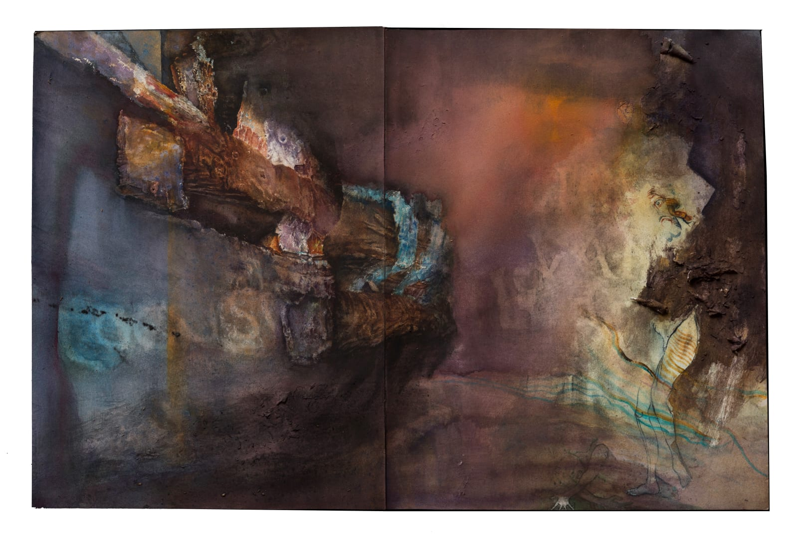 Liminatus Messiaen, 2016 -2020 Watercolor, Conté crayon, and charcoal on pieced paper. 14 x 21.25 in. (TM 31) $4,500