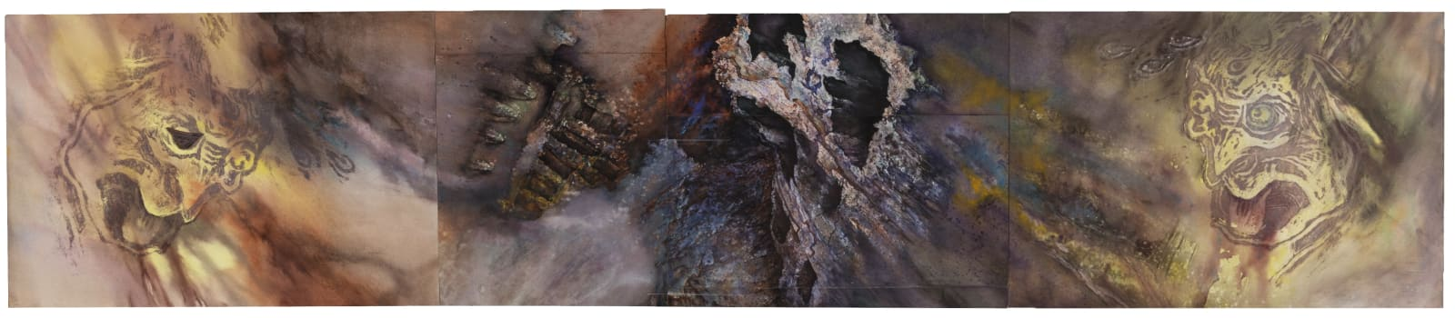 """Liminatus Noh, 2001-2021 Watercolor, oil, acrylic, woodcut, and offset print on pieced paper 14"""" x 67.5"""" (TM 38) $12,000"""