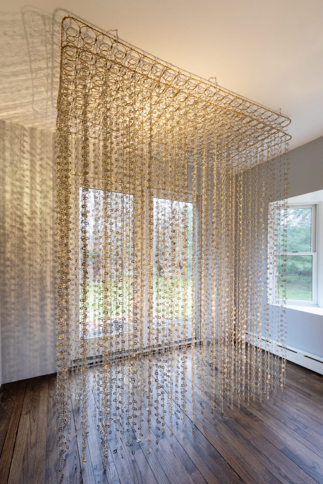 Alice Hope Proprioceptive 1, 2021 Box spring, corona tabs, ball chain, 72 x 30 x 118 in. (length variable to ceiling height) (AHo 38) $24,000