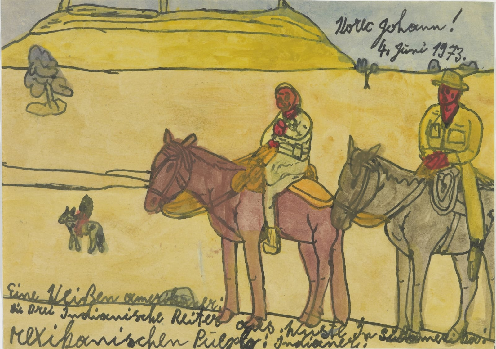 Untitled (Western Scene), 1973 Ink and watercolor on paper 8.3 x 11.8 in. (21.1 x 30 cm.) (JK 17) $6,000