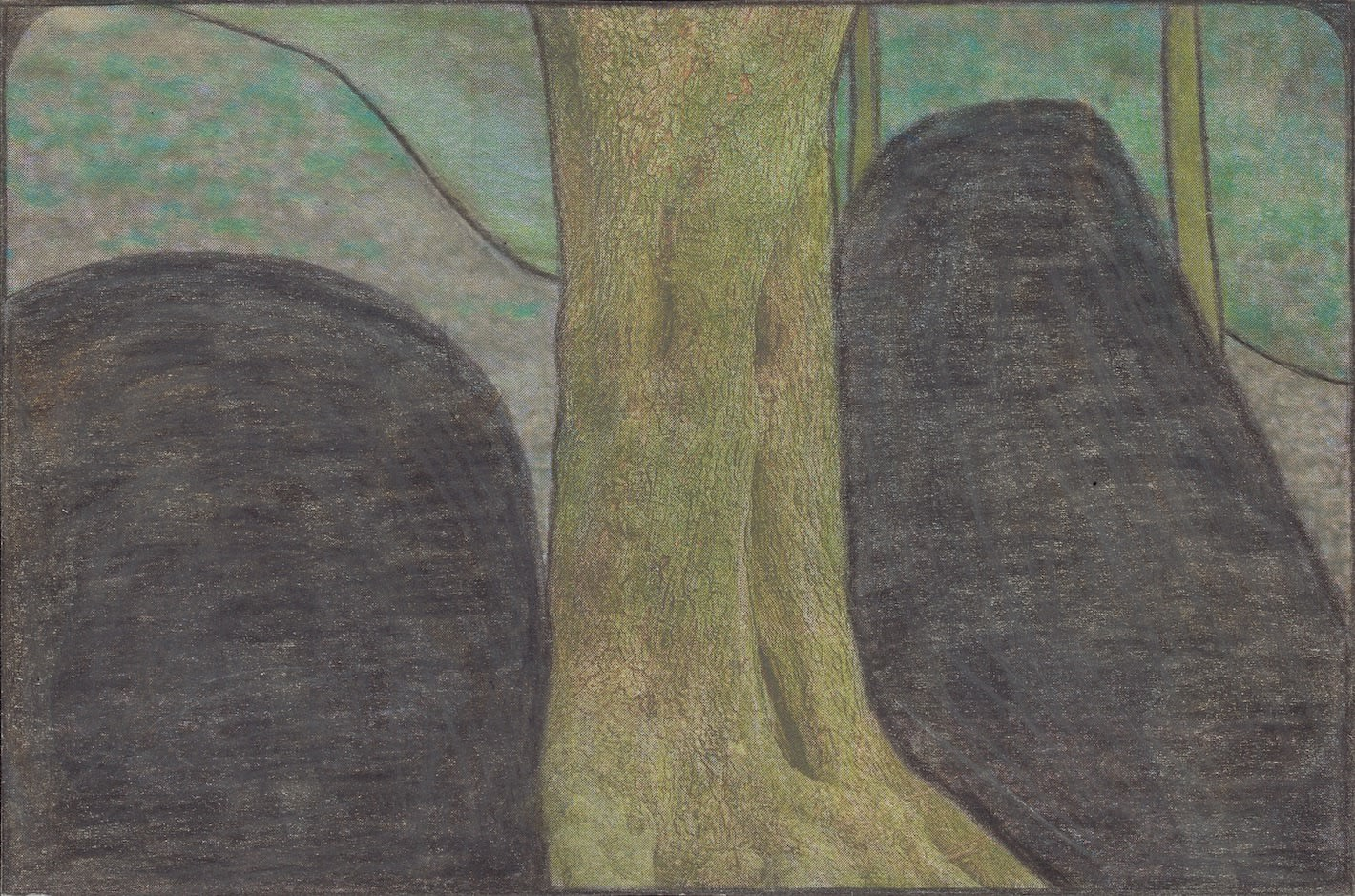 Untitled , 2020 Graphite and colored pencils on newsprint clip mounted on paper 3 7/8 x 5 3/4 in. (9.7 x 14.6 cm.) (LpS 374) $3,600