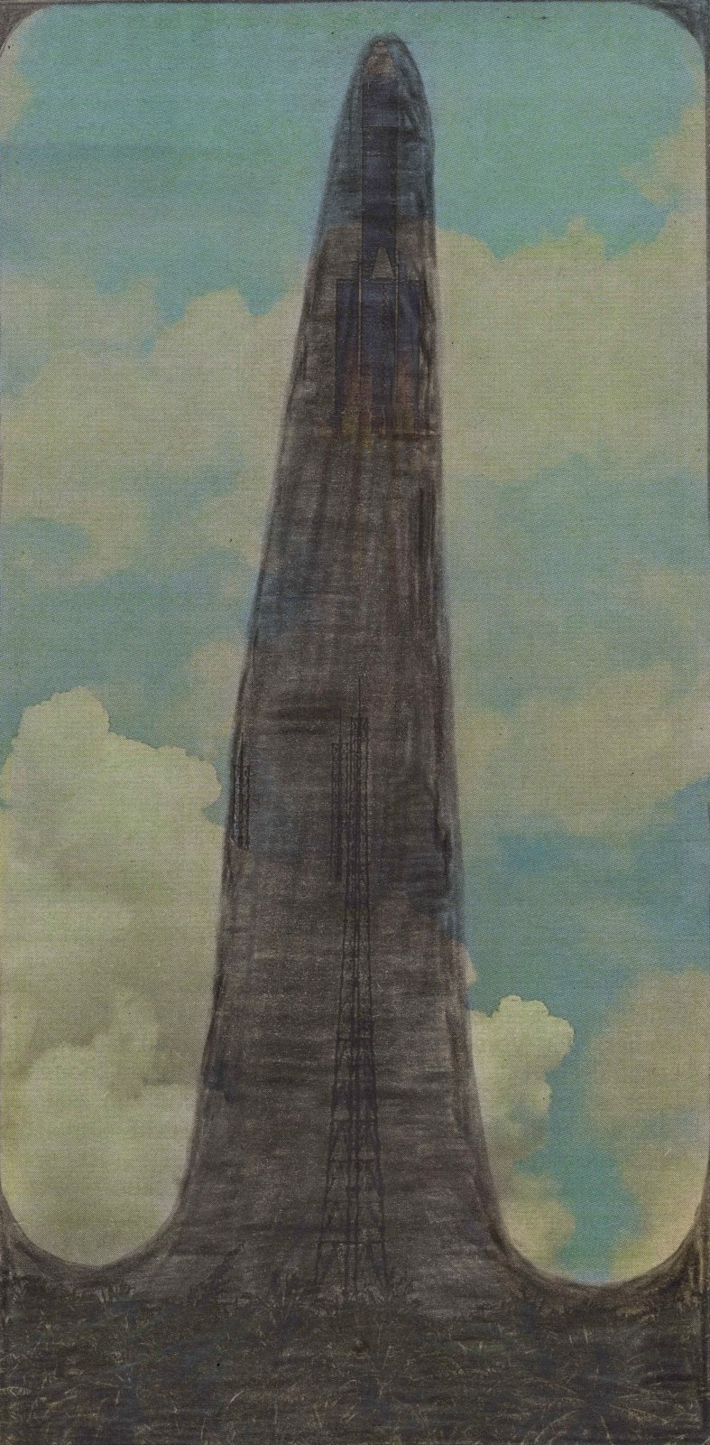 Untitled , 2020 Graphite and colored pencils on newsprint clip mounted on paper 7 1/2 x 3 3/4 in. (19.1 x 9.5 cm.) (LpS 375) $4,200