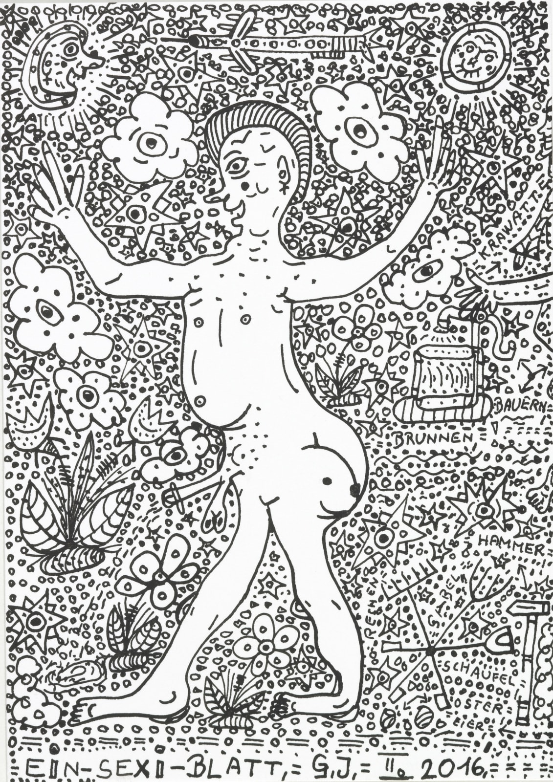 A Sexi-Paper, 2016 India Ink on white wove paper 6 x 4.25 in. (15.24 x 10.8 cm.) (JGG 6) $3,000