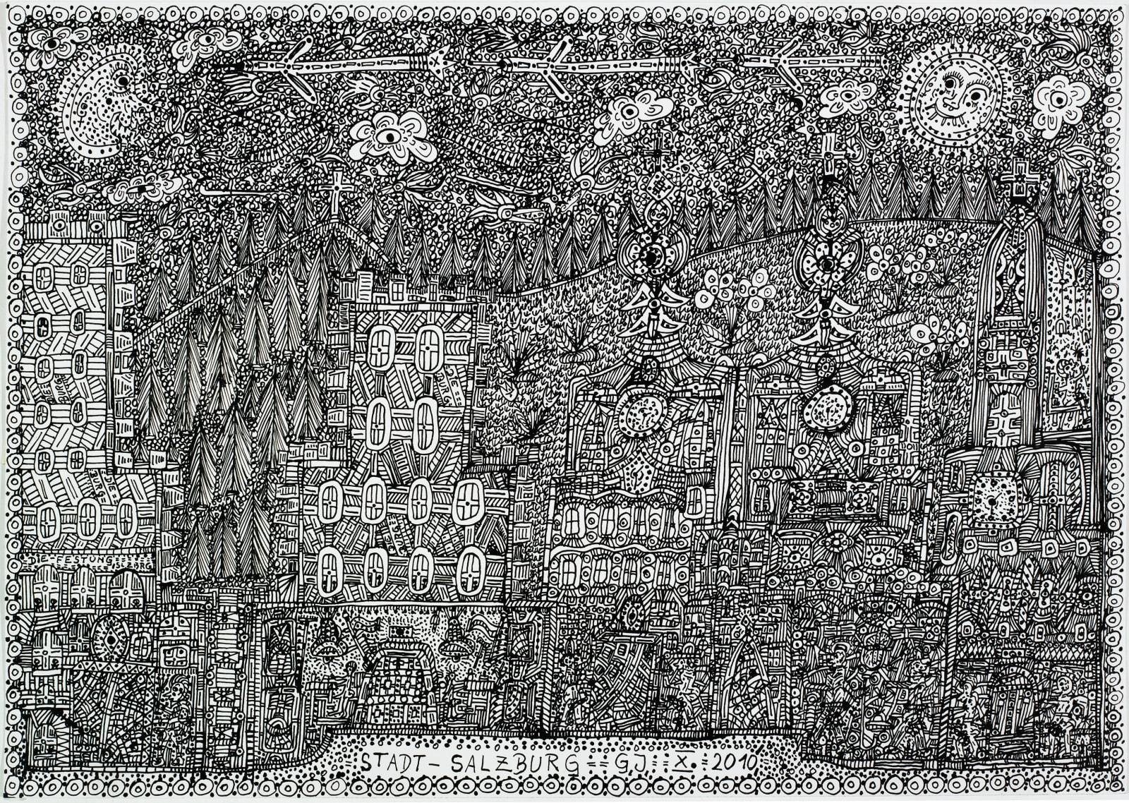 City-Salzburg, 2011 India ink on paper 11 3/4 x 16 1/2 in. (29.7 x 41.8 cm.) (JGG 14) $8,500