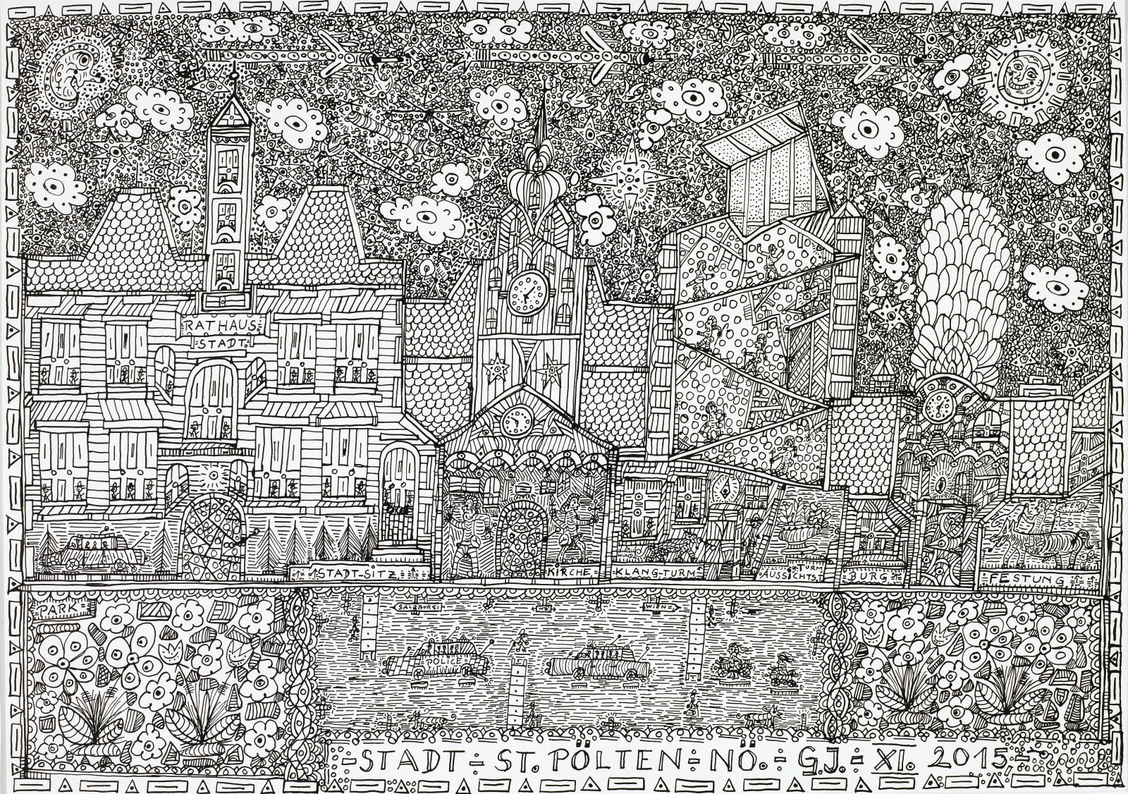 City-St. Pölten, 2015 India ink on paper 11 5/8 x 16 3/8 in. (29.6 x 41.7 cm.) (JGG 15) SOLD