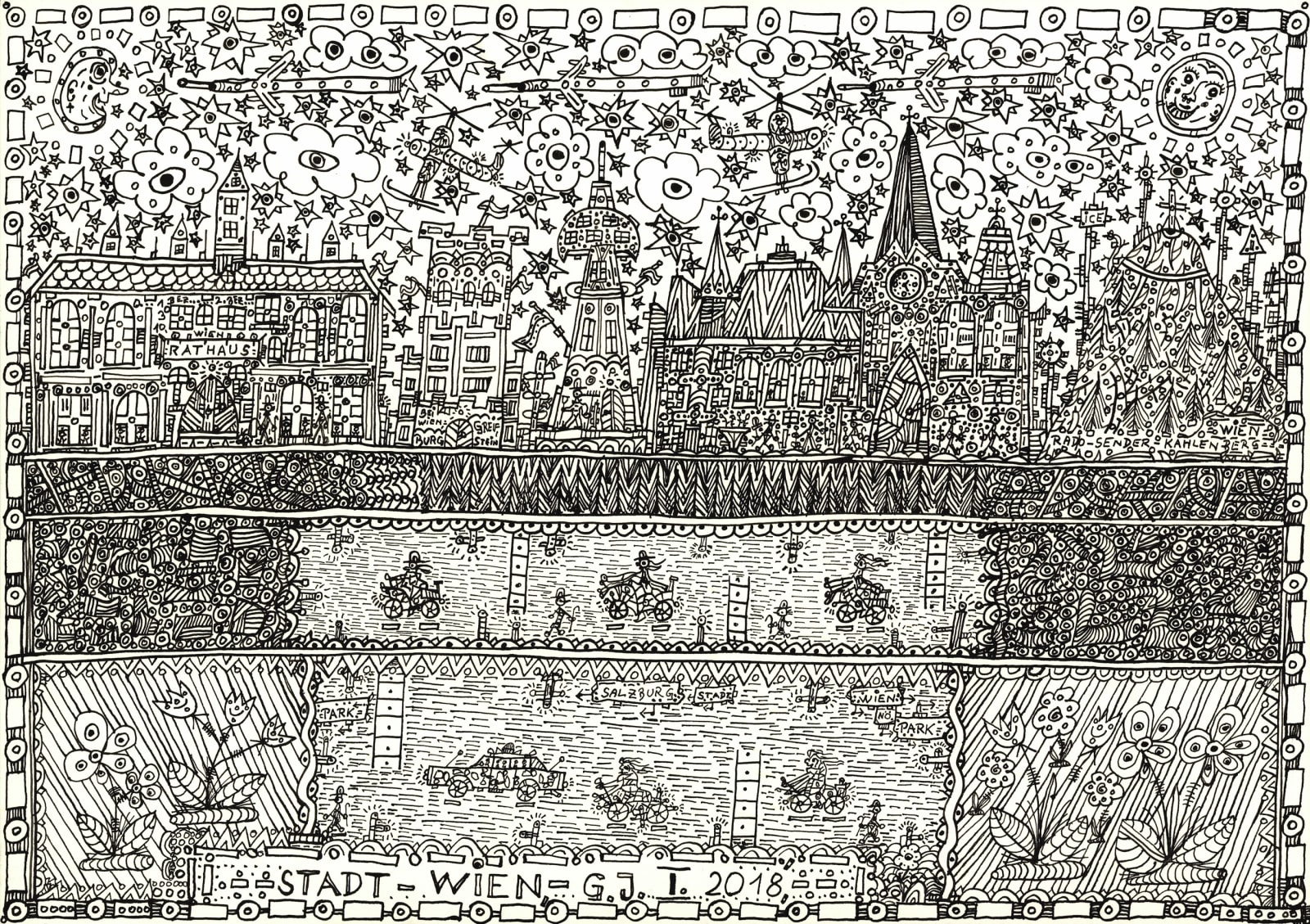 City-Vienna, 2018 India ink on paper 11 5/8 x 16 1/2 in. (29.5 x 41.8 cm.) (JGG 16) SOLD