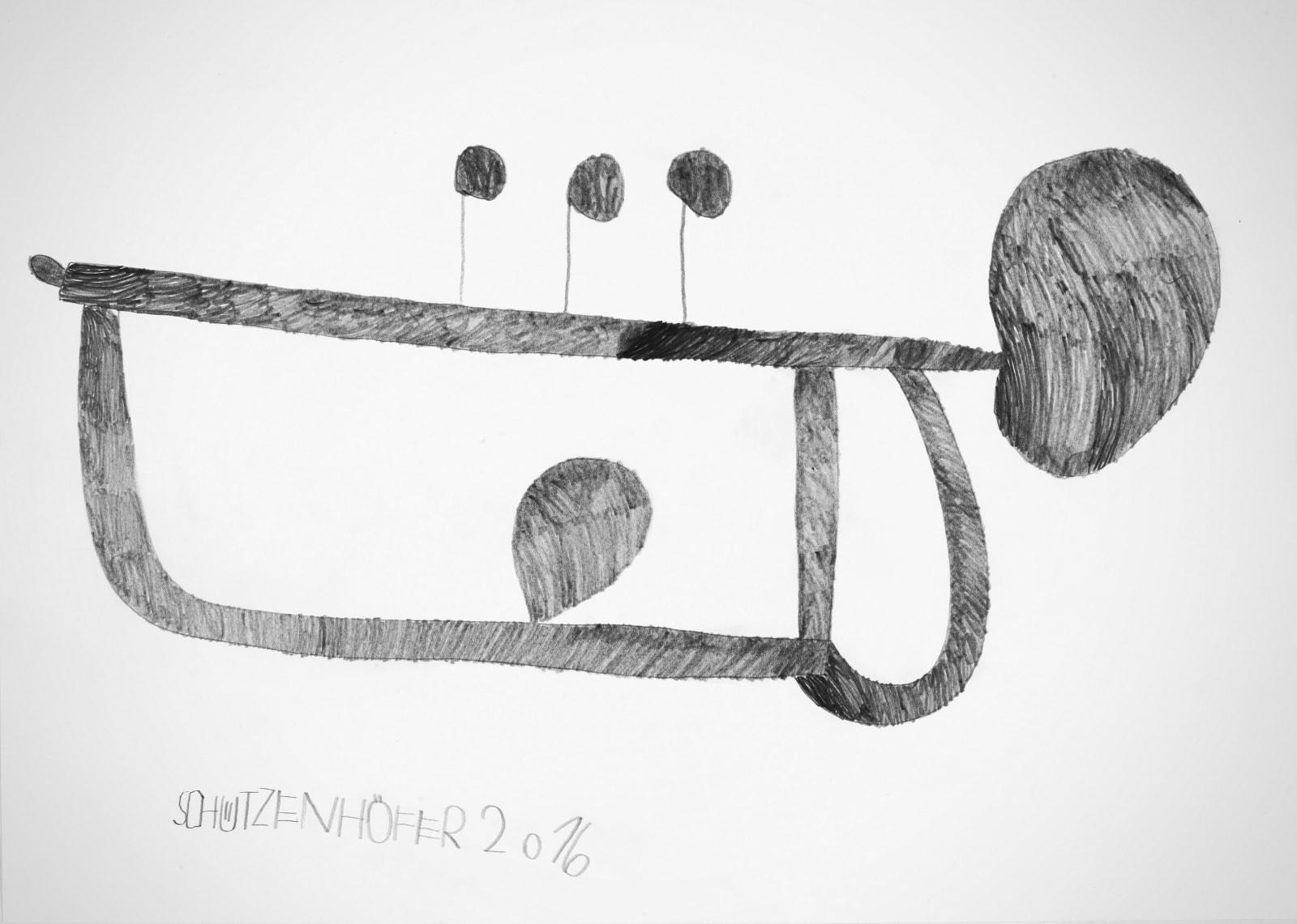 Trumpet, 2016 Graphite on paper 19.7 x 27.5 in. (24.6 x 10.8 cm.) (GSG 118) $7,000