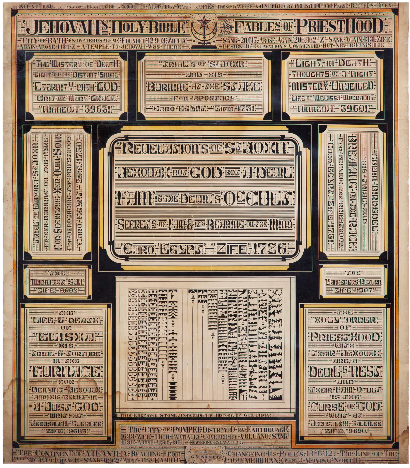 Jehovah's Holy Bible - Fables of Priesthood, ca. 1891 Ink on paper 40 1/2 x 35 5/8 in. 102.9 x 90.5 cm. (GMS6)