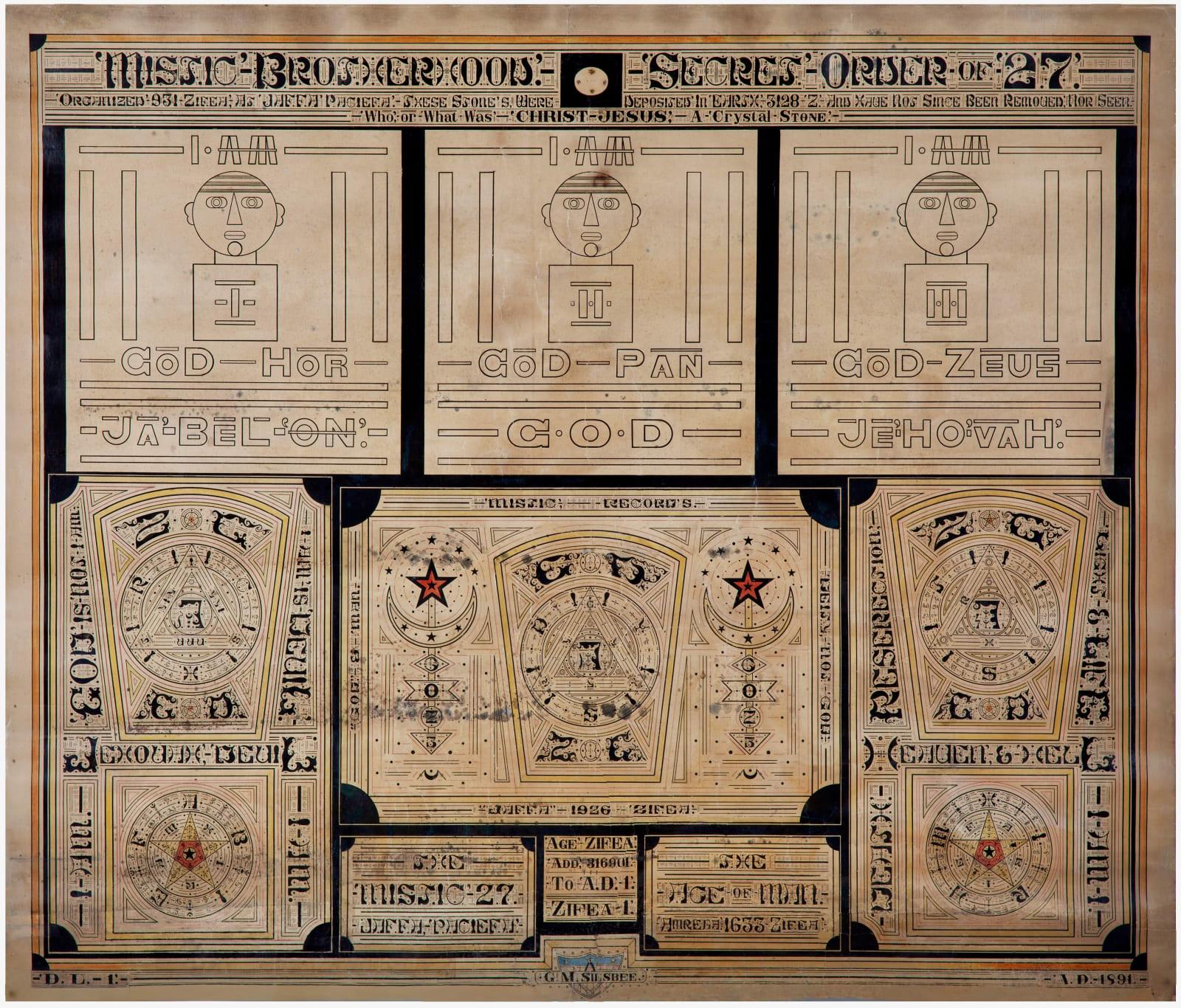 Mistic Brotherhoods Secret Order of 27, ca. 1891 Ink on paper 41 1/4 x 35 1/2 in. 104.8 x 90.2 cm. (GMS8)