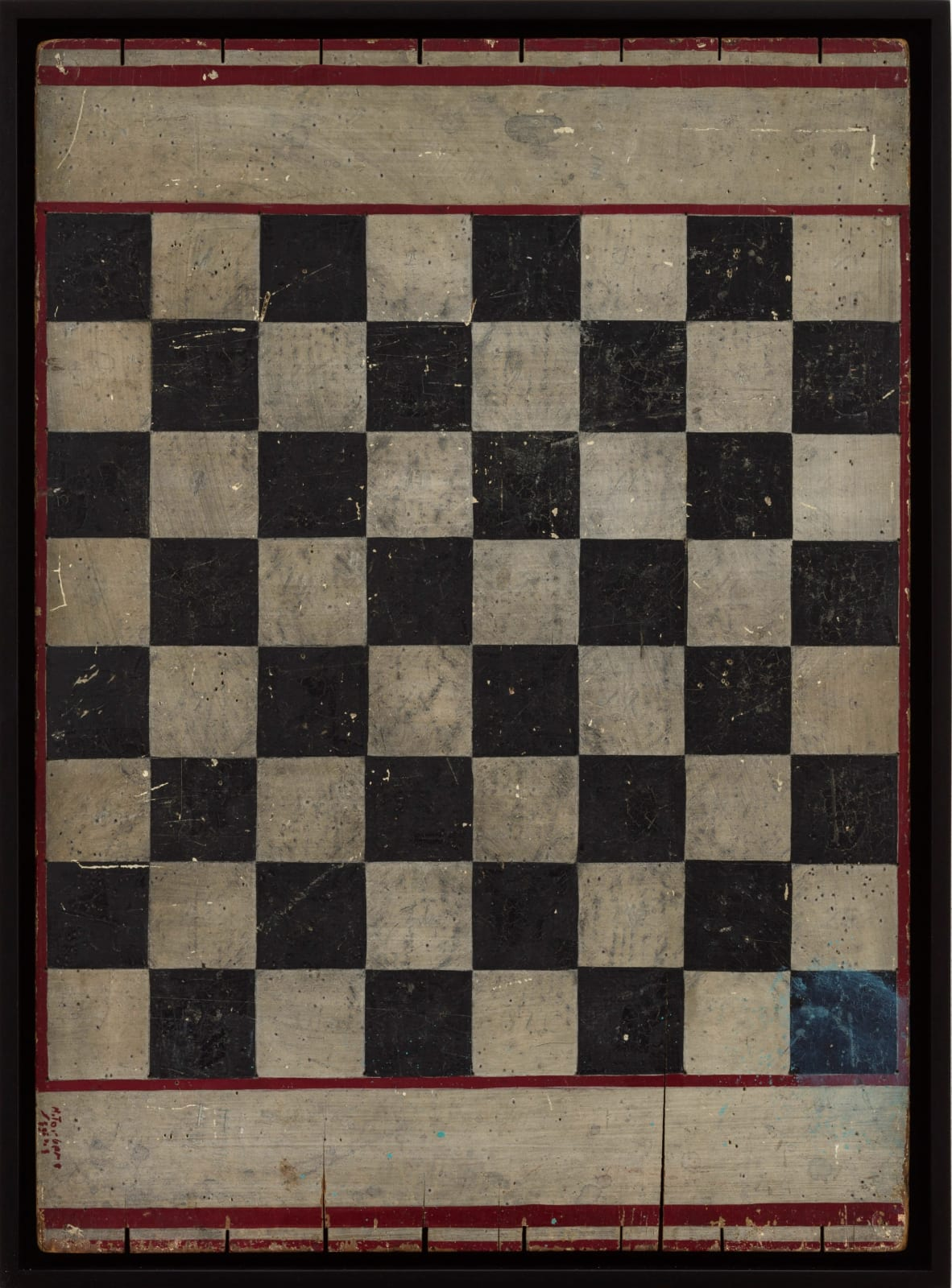 CHECKERS GAME BOARD, C. 1910-1920 Enamel on wood panel 16.5 x 22.5 in. 41.9 x 57.1 cm. (AU 164)