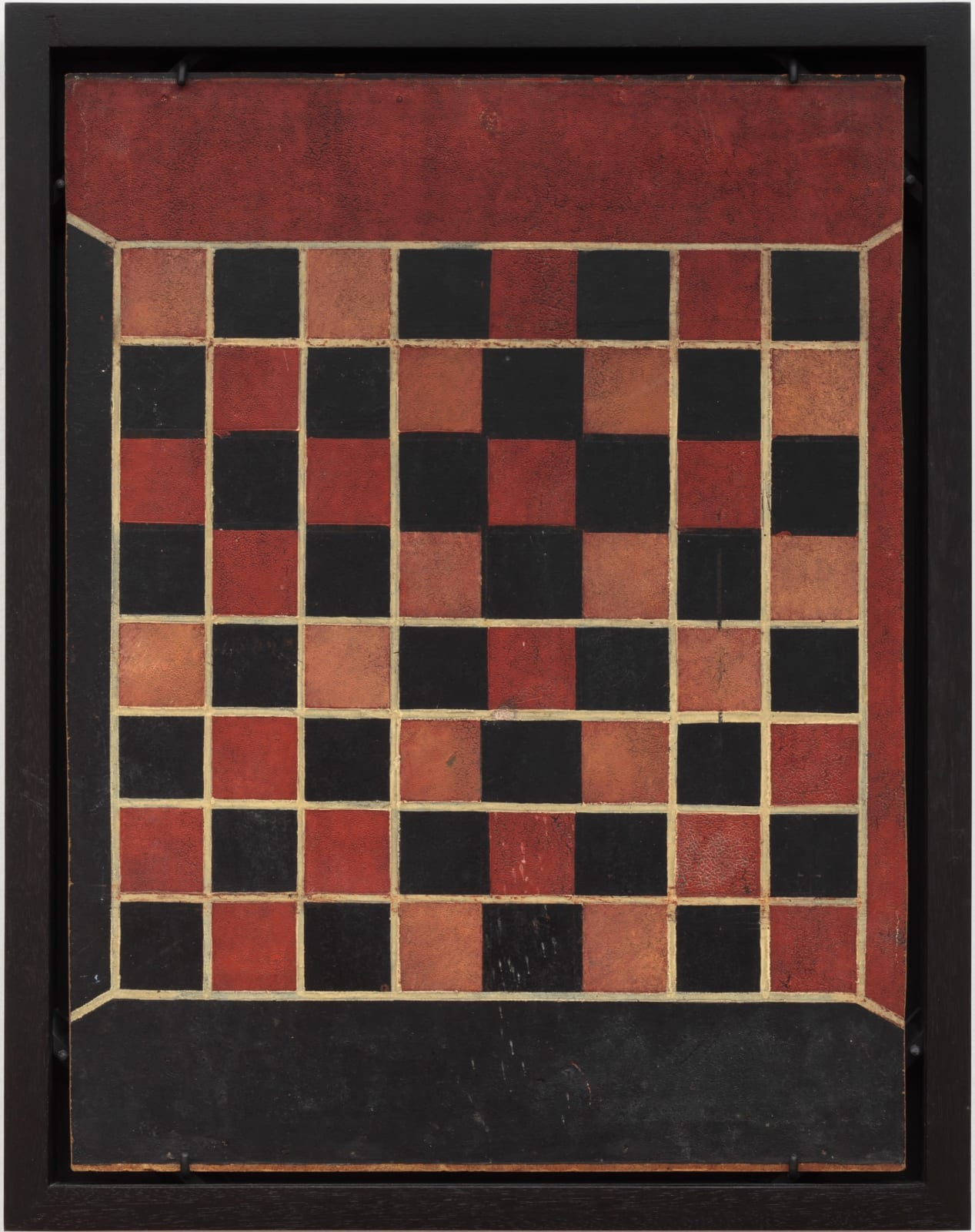 CHECKERS GAME BOARD, C. 1925-30 Polychrome on linoleum board 17 3/4 x 13 1/2 in. 45 x 34.3 cm. (AU 219)