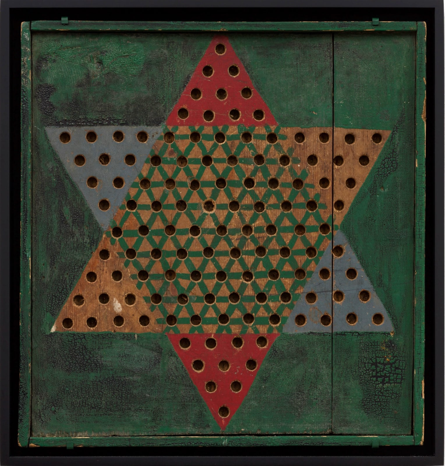 CHINESE CHECKERS GAME BOARD, C. 1930-40 Oil enamel on wood panel 17 x 17 in. 43.2 x 43.2 cm. (AU 228)