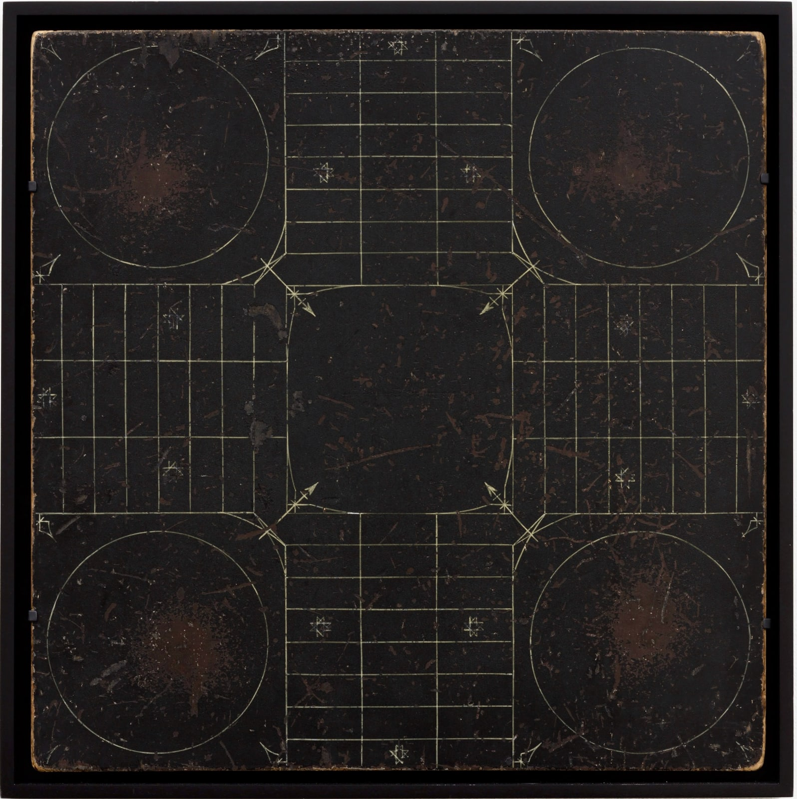 PARCHEESI GAME BOARD, LATE 19TH CENTURY Oil enamel on wood panel 19 3/4 x 19 3/4 in. 50.2 x 50.2 cm. (AU 241)