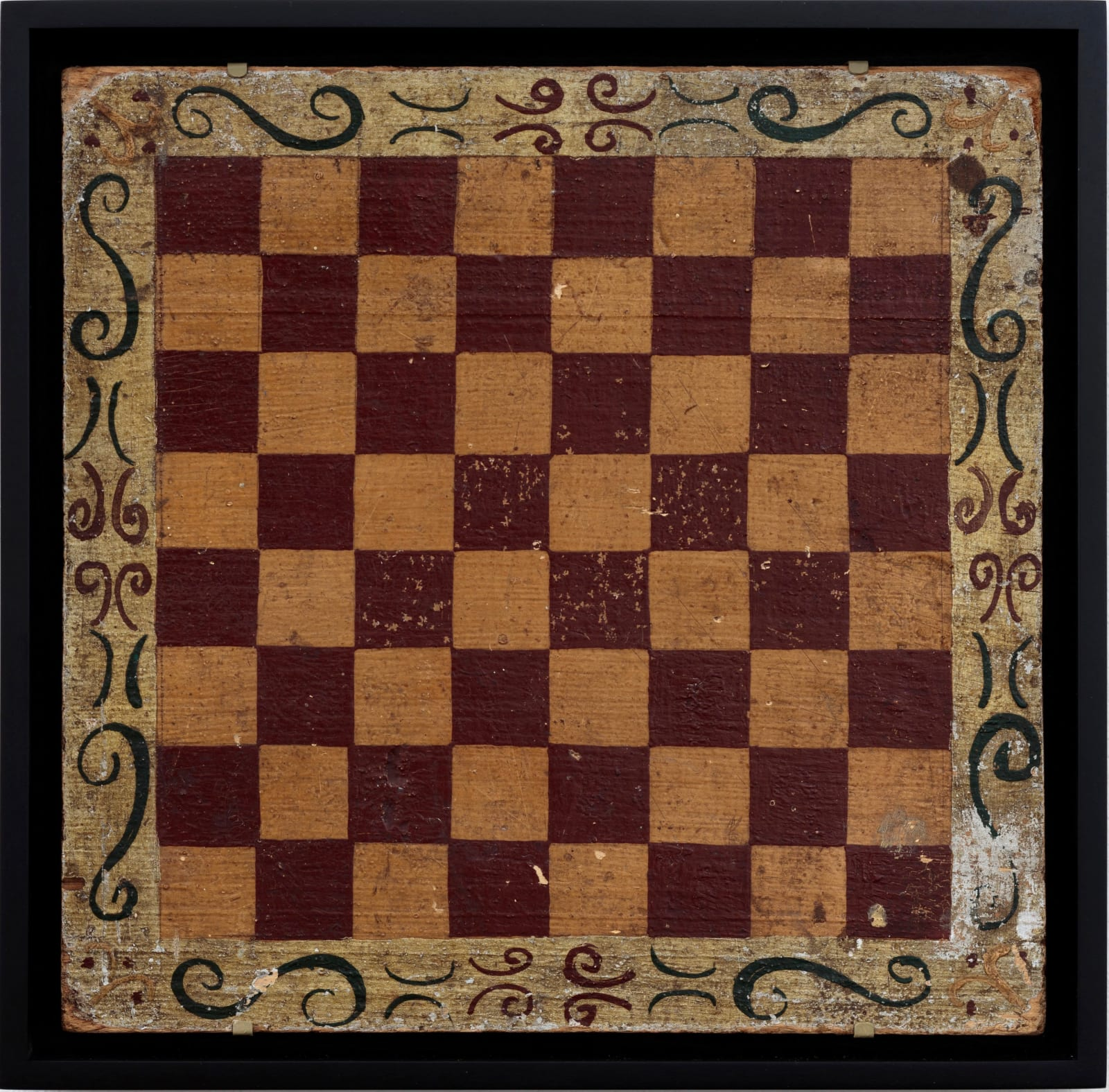 CHECKERS GAME BOARD WITH DECORATIVE BORDER, C. 1900 Oil enamel on wood panel 12 1/2 x 12 1/4 in. 31.8 x 31.1 cm. (AU 242)