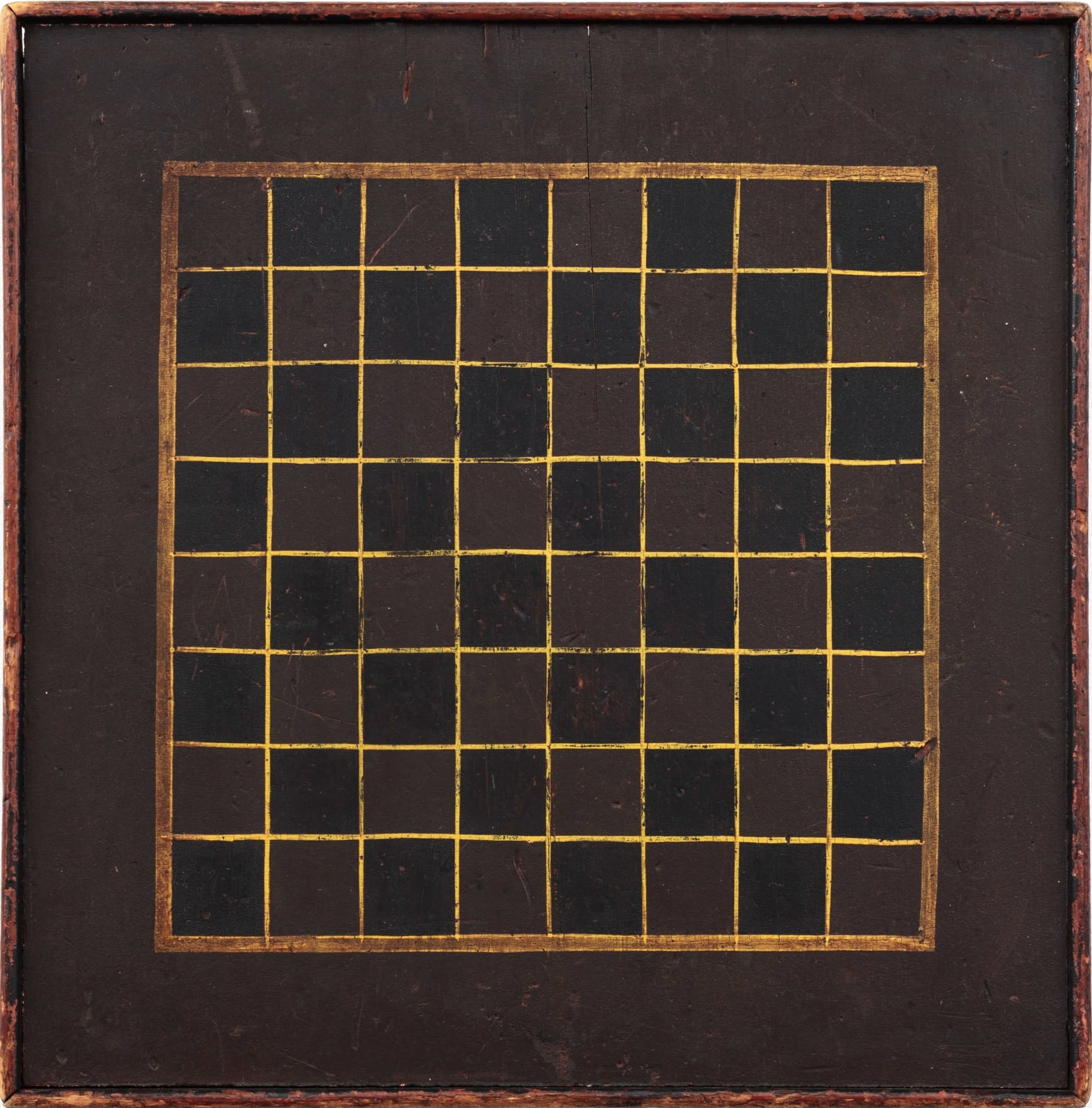 CHECKERS GAME BOARD, LATE 19TH CENTURY Original paint on wood 16 1/4 x 16 1/2 in. 41.3 x 41.9 cm. (AU 243)